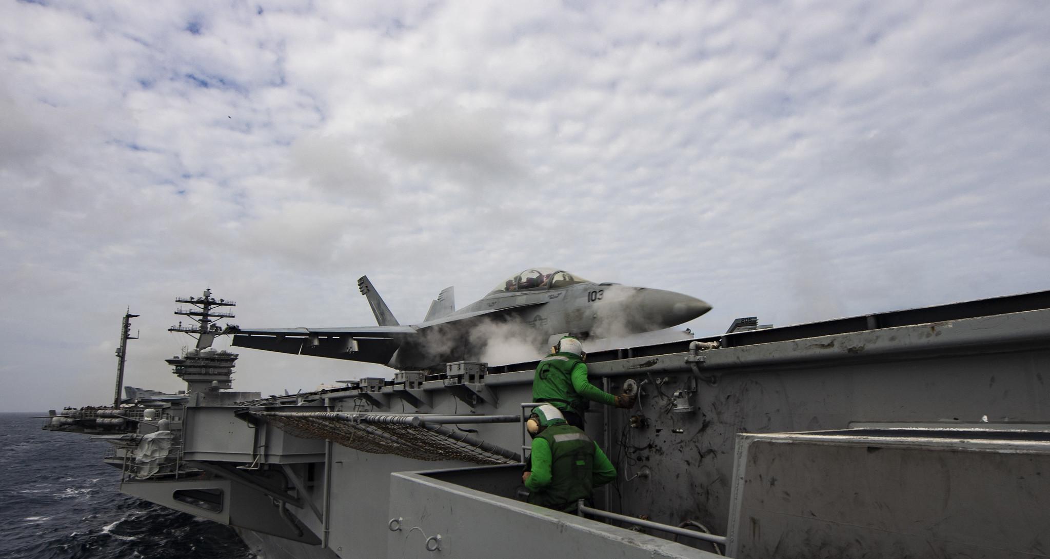 An F/A-18F Super Hornet launches off the flight deck of the aircraft carrier USS Nimitz (CVN 68) in the Arabian Sea on July 27, 2020. (MC3 Dalton Reidhead/Navy)