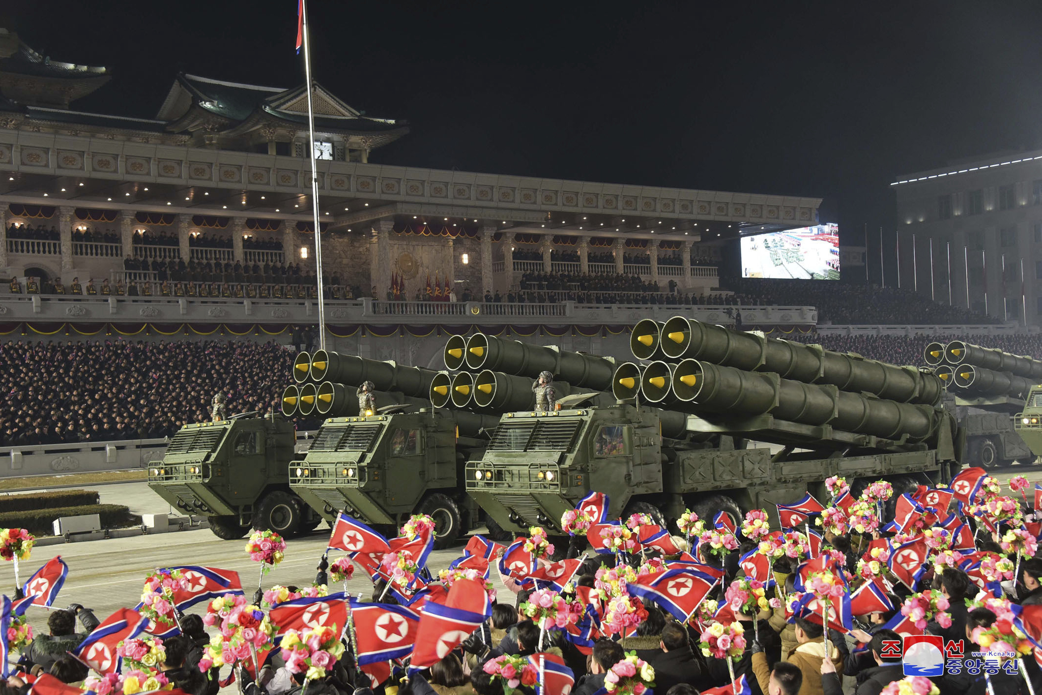 North Korea rolled out developmental ballistic missiles designed to be launched from submarines and other military hardware in a parade that punctuated leader Kim Jong Un's defiant calls to expand his nuclear weapons program. (Korean Central News Agency/Korea News Service via AP)