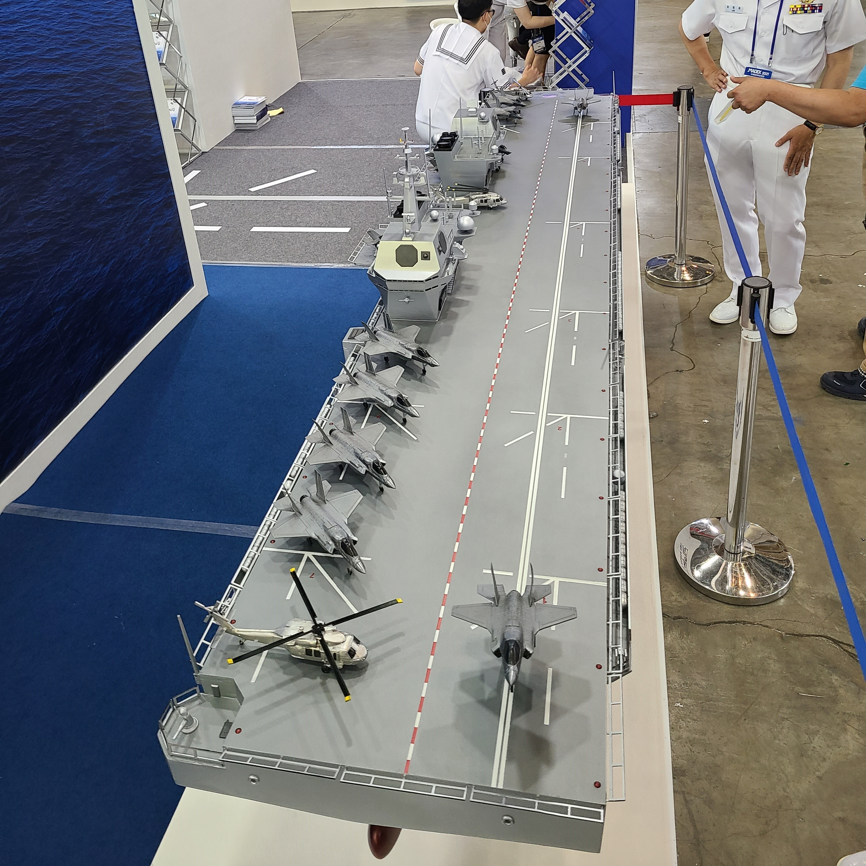 The South Korean Navy displayed an aircraft carrier model at the show. (Brian Kim/Staff)