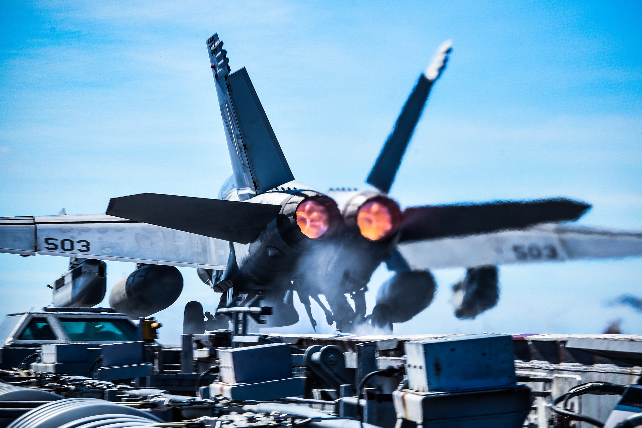 An E/A-18G Growler launches from the flight deck of the aircraft carrier USS Ronald Reagan (CVN 76) on Oct. 23, 2020, in the Philippine Sea. (MC3 Gabriel A. Martinez/Navy)