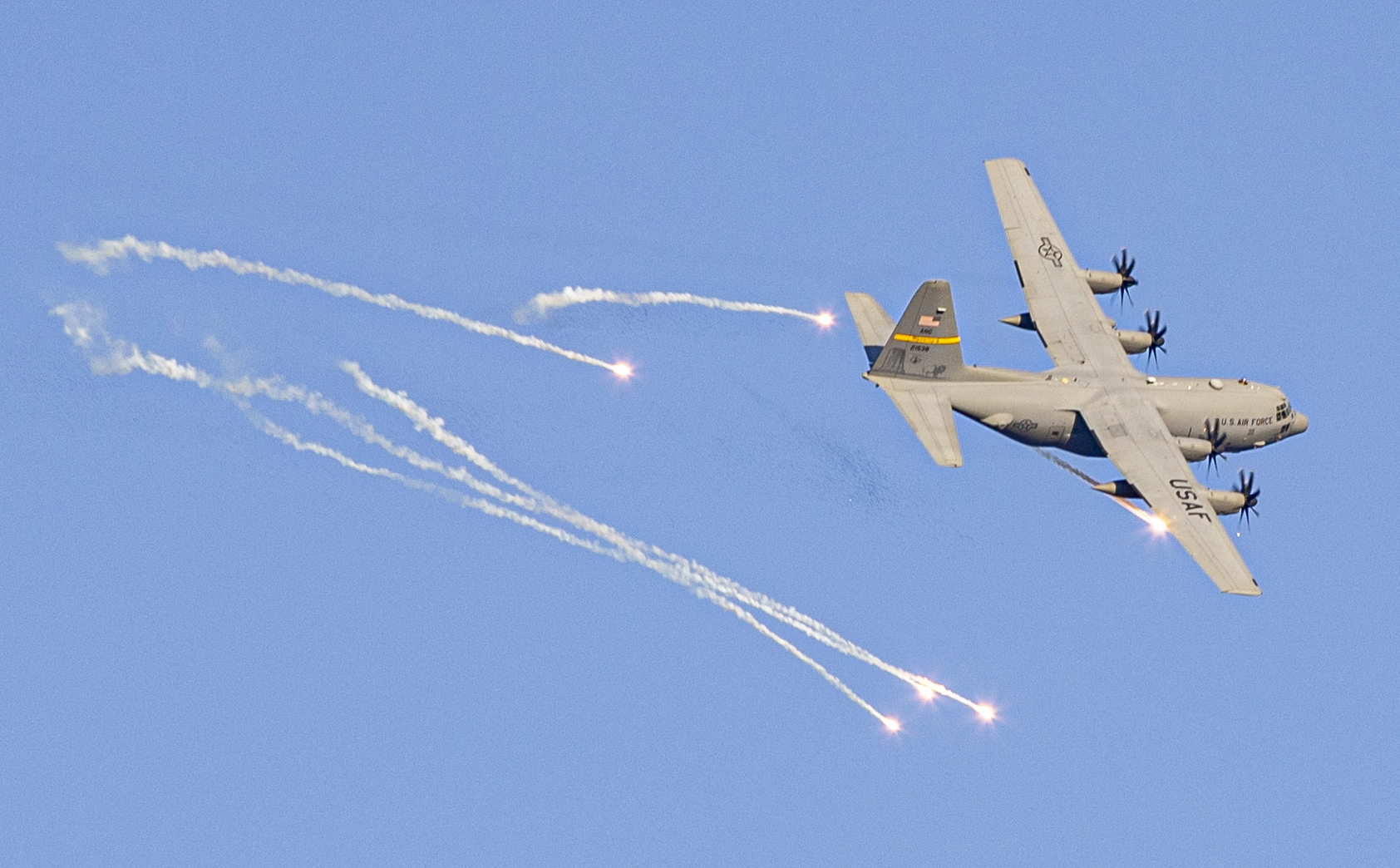 An Air Force C-130 Hercules fires flares during exercise Southern Strike at Camp Shelby Joint Forces Training Center, Miss., April 25, 2021. (Sgt. Jovi Prevot/Army)