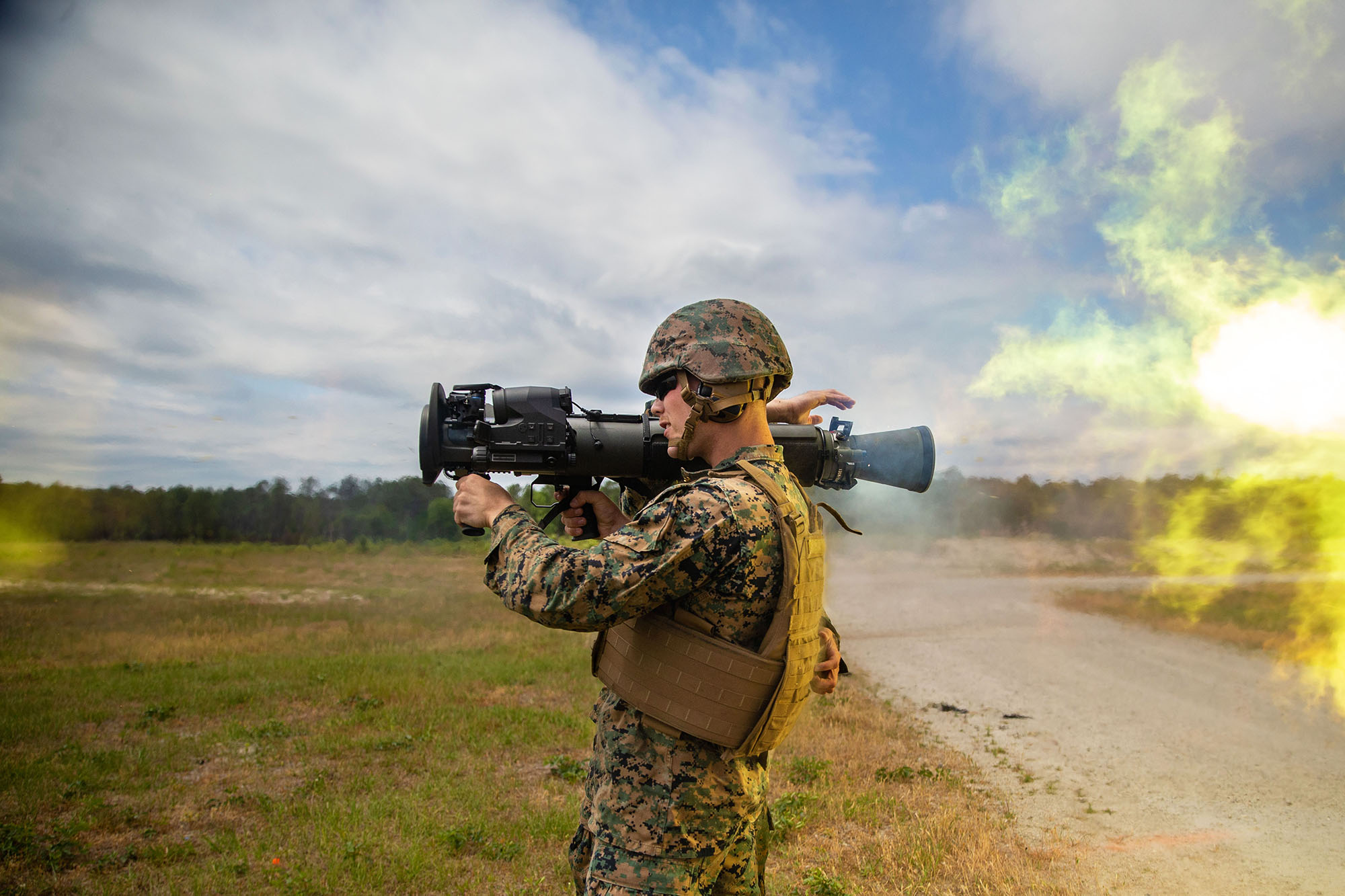 U.S. Marine Corps Cpl. Andrew Ritchie uses the M3E1 Multi-purpose Anti-armor Anti-personnel Weapon System to engage targets during a live-fire training on Camp Lejeune, N.C., May 6, 2021. (Lance Cpl. Emma L. Gray/Marine Corps)
