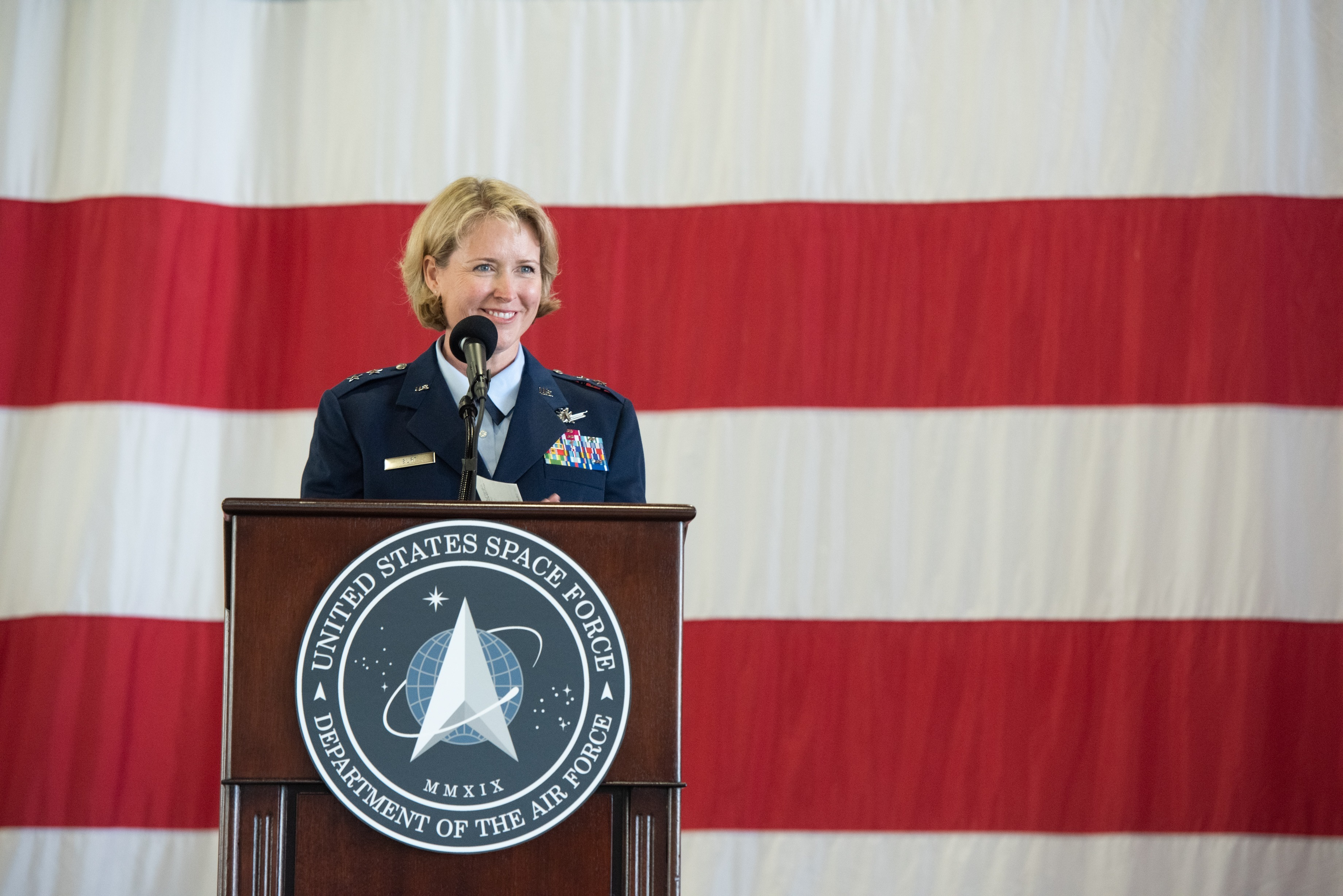 Maj. Gen. DeAnna Burt, commander of the Combined Force Space Component Command, discussed diversification among missile warning suppliers and the need for satellite software that can be reprogrammed quickly to adjust to threats. (U.S. Space Force / 2nd Lt. Idalí Beltré Acevedo).