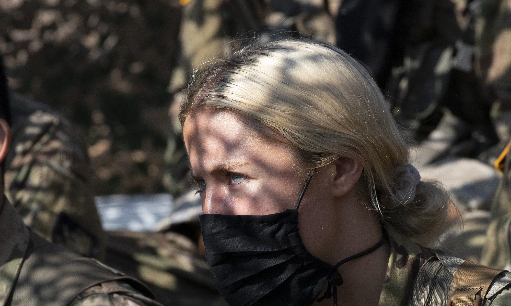Madison Warne, of Valhalla, N.Y, listens to instructions at a mortar range, Friday, Aug. 7, 2020, at the U.S. Military Academy in West Point, N.Y. (Mark Lennihan/AP)