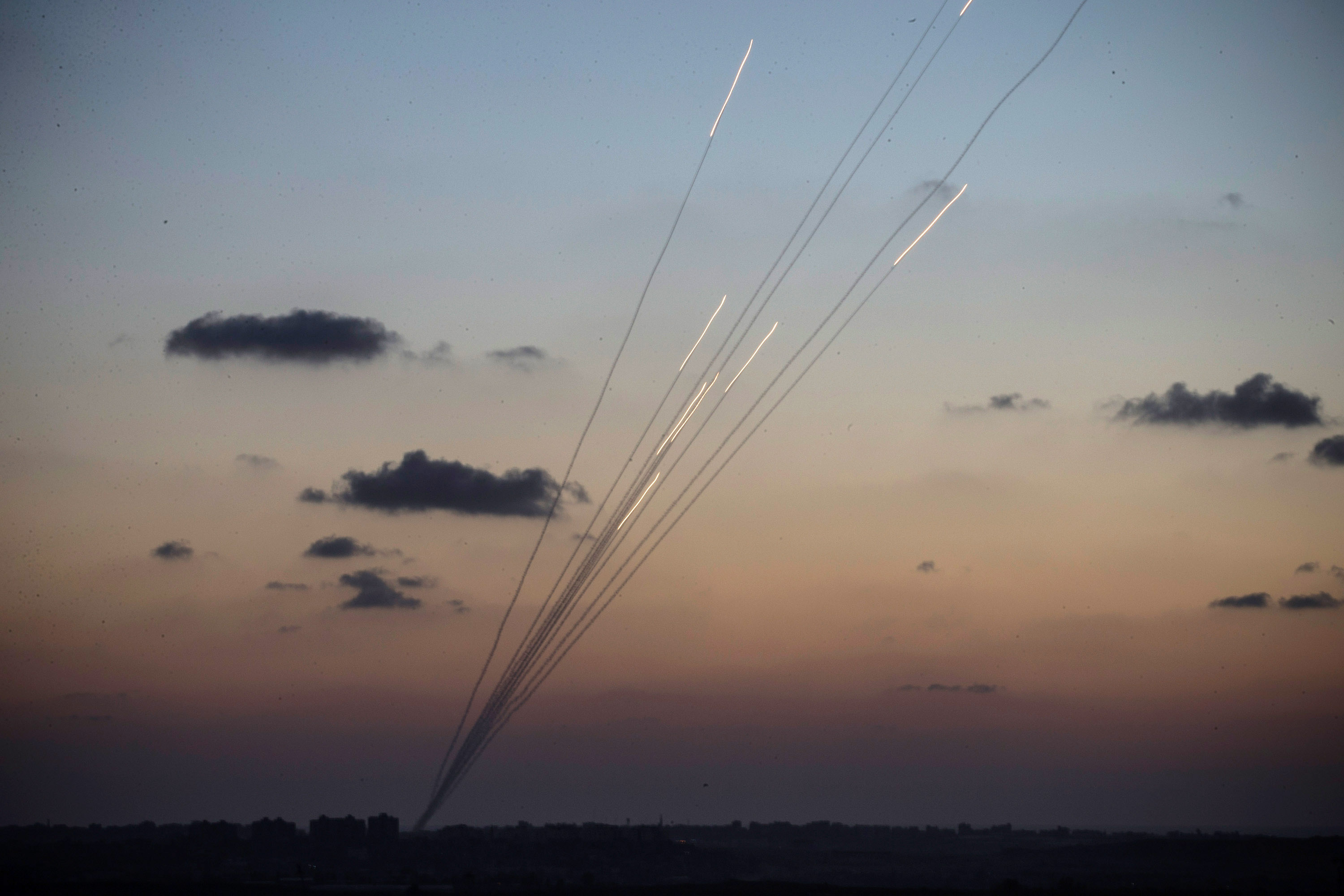 Rockets are fired from inside the Gaza Strip towards Israel on the sixth day of Israel's operation Protective Edge on July 13, 2014, as seen from Sderot, Israel. (Andrew Burton/Getty Images)