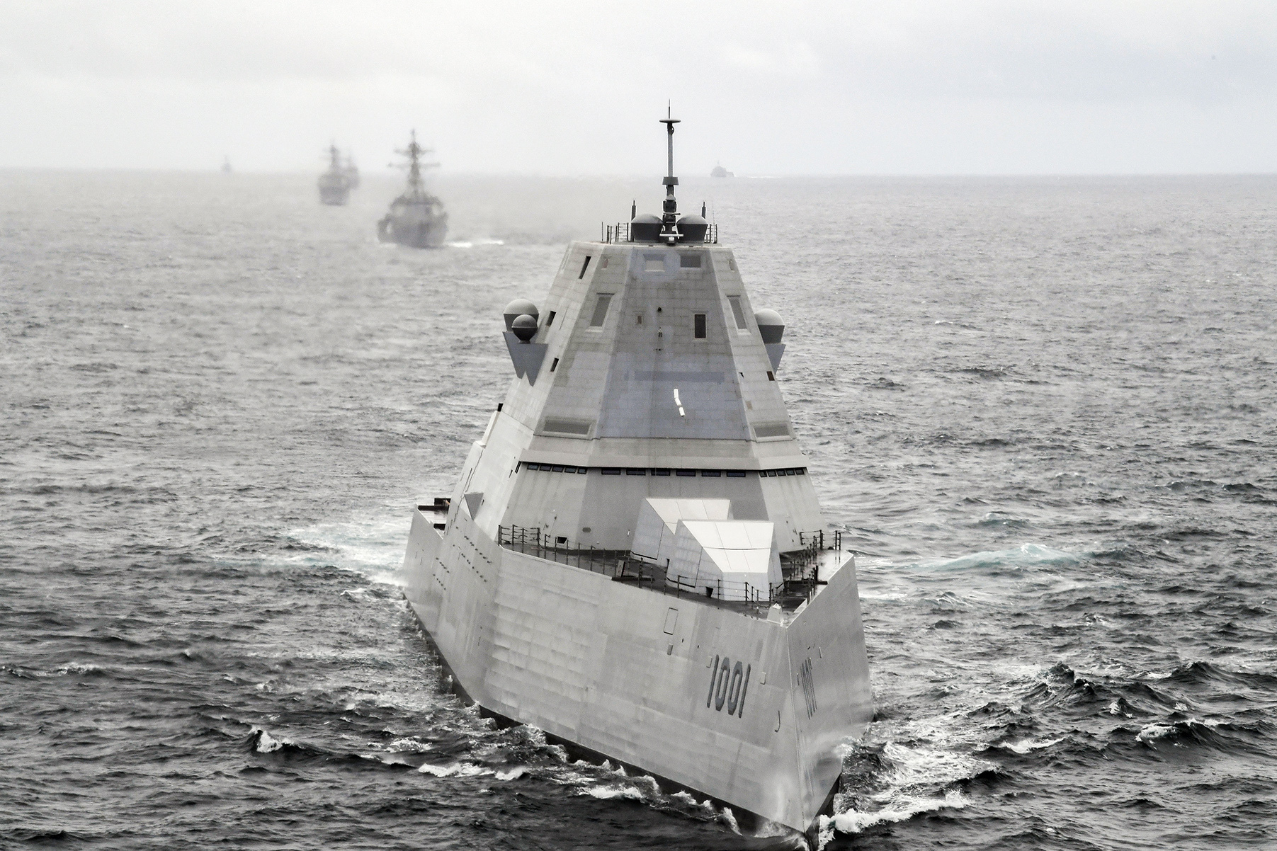 The Zumwalt-class guided-missile destroyer USS Michael Monsoor (DDG 1001) leads a formation during U.S. Pacific Fleet's Unmanned Systems Integrated Battle Problem (UxS IBP) April 21, 2021. (Chief Mass Communication Specialist Shannon Renfroe/U.S. Navy)