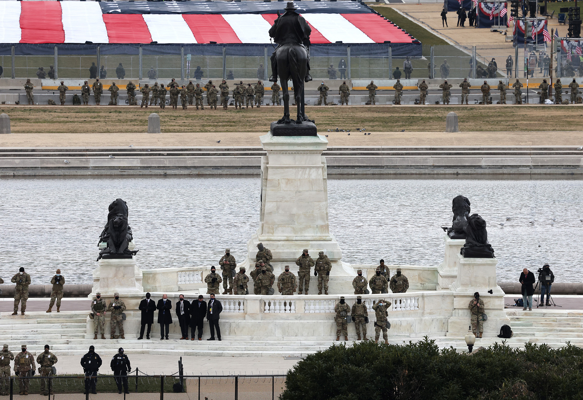 National Guard troops look on during the inauguration of President-elect Joe Biden on the West Front of the Capitol on Jan. 20, 2021, in Washington. (Tasos Katopodis/Getty Images)