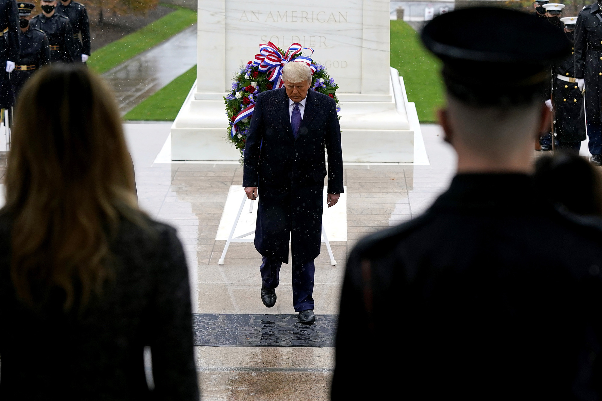 President Donald Trump participates in a Veterans Day wreath laying ceremony at the Tomb of the Unknown Soldier at Arlington National Cemetery in Arlington, Va., Wednesday, Nov. 11, 2020. (Patrick Semansky/AP)