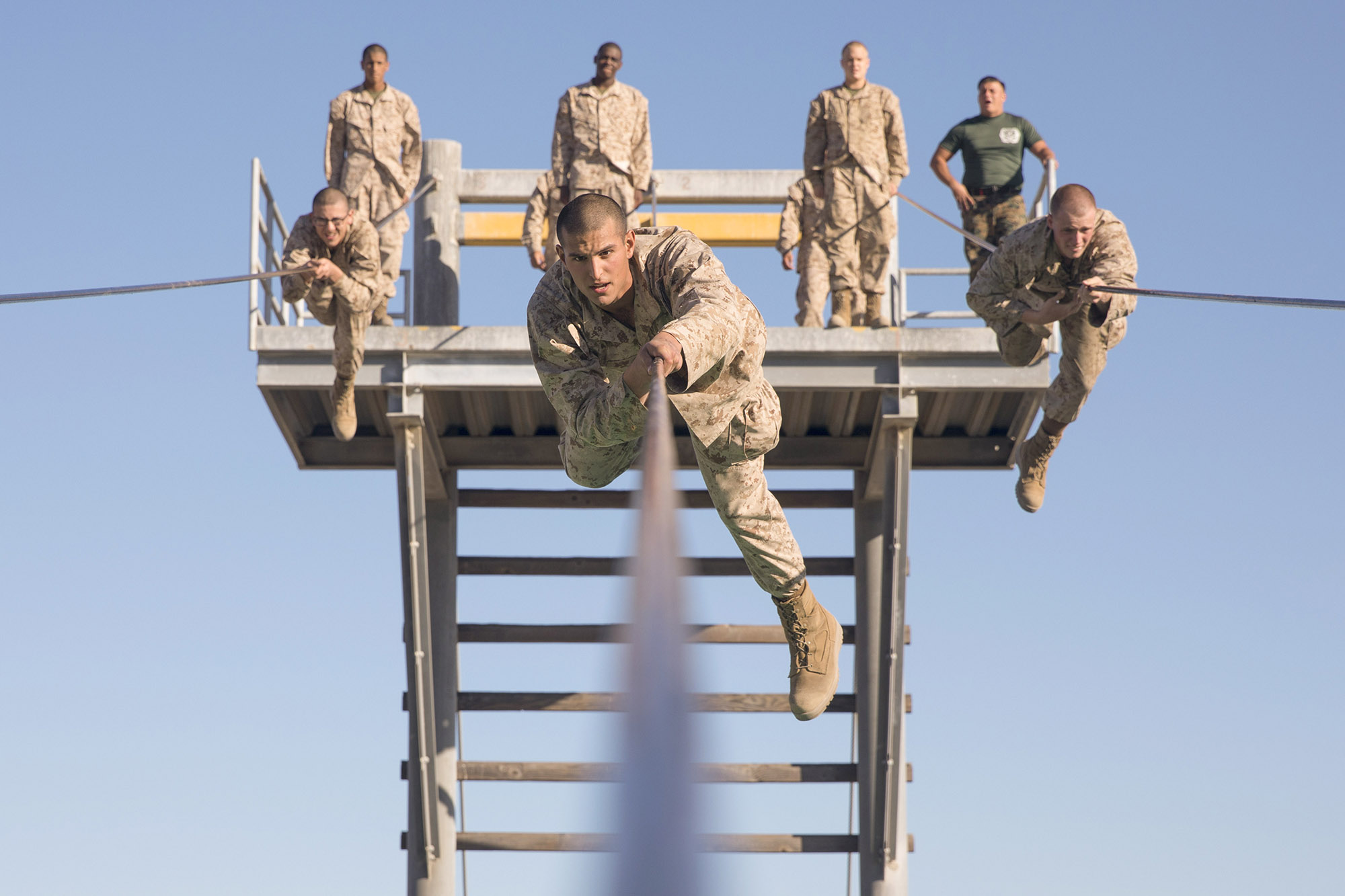 Rct. Eliseo Z. Sandoval overcomes an obstacle during the Confidence Course at Marine Corps Recruit Depot, San Diego, Dec. 2, 2020. (Sgt. Brooke C. Woods/Marine Corps)