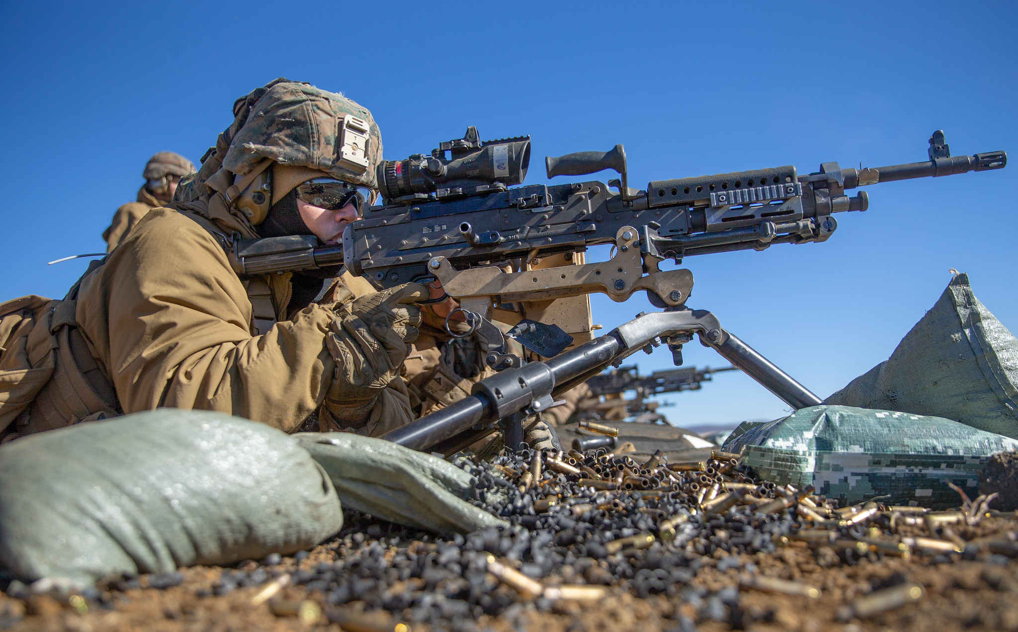 Hospital Corpsman 3rd Class Neil Rioja participates in live-fire M240B machine gun range training Feb. 9, 2021, during Artillery Relocation Training Program 20.4 at Combined Arms Training Center, Camp Fuji, Japan. (Lance Cpl. Scott Aubuchon/Marine Corps)
