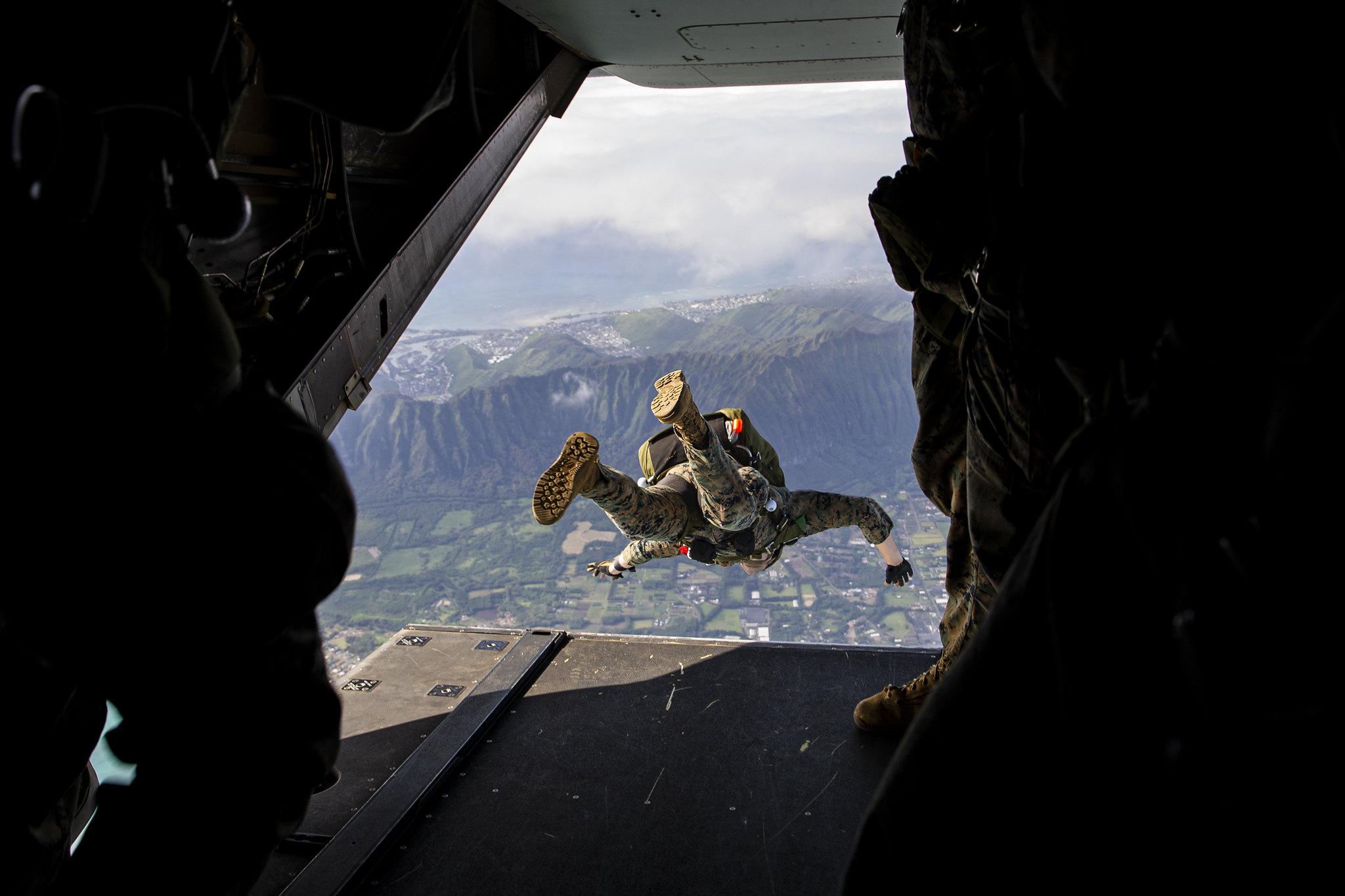 A U.S. Marine jumps during airborne operations Feb. 9, 2021, at Marine Corps Training Area Bellows, Hawaii. (Lance Cpl. Samantha Sanchez/Marine Corps)