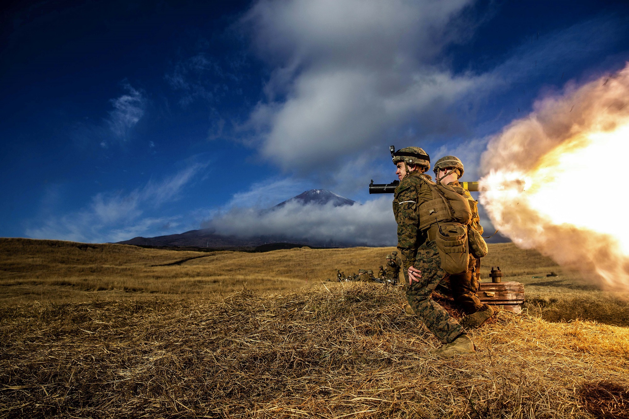 Marines fire a MK-153 shoulder-launched multipurpose assault weapon in a live-fire squad attack range during exercise Fuji Viper 21.1 at Combined Arms Training Center, Camp Fuji, Japan, on Dec. 10, 2020. (Lance Cpl. Ujian Gosun/Marine Corps)
