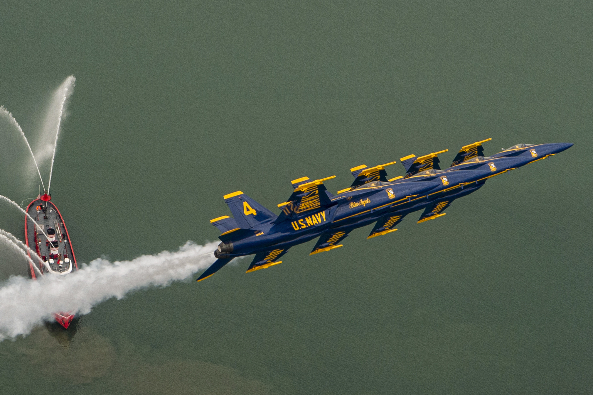 The Blue Angels, the Navy's flight demonstration squadron, performs the left echelon parade maneuver during an airshow in Buffalo, N.Y., June 18. (MC2 Christopher Gordon/Navy)