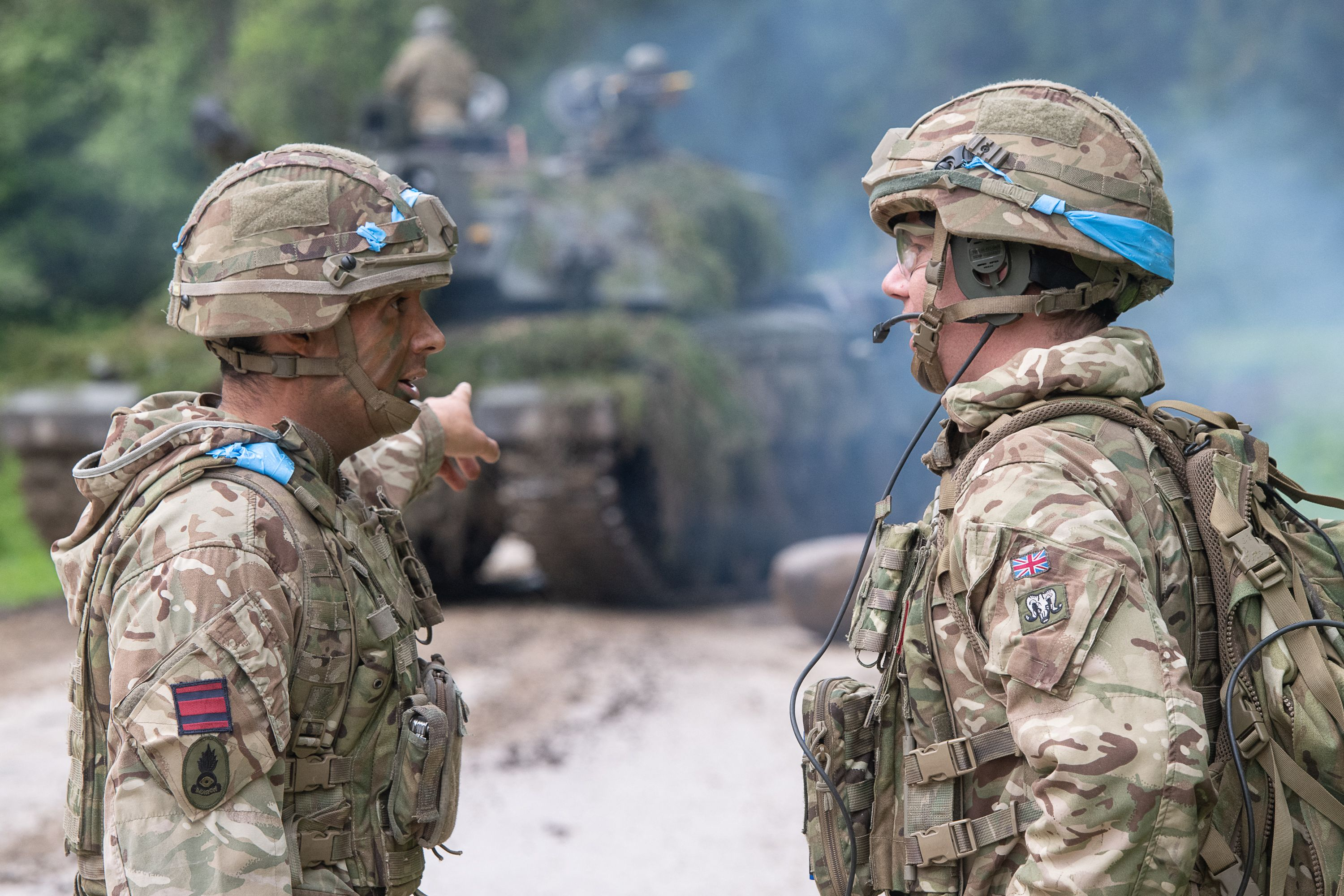 Soldiers take part in exercise Spring Storm, led by Estonia with the participation of NATO troops, on May 27, 2021, in Tapa, Estonia. (Raigo Pajula/AFP via Getty Images)