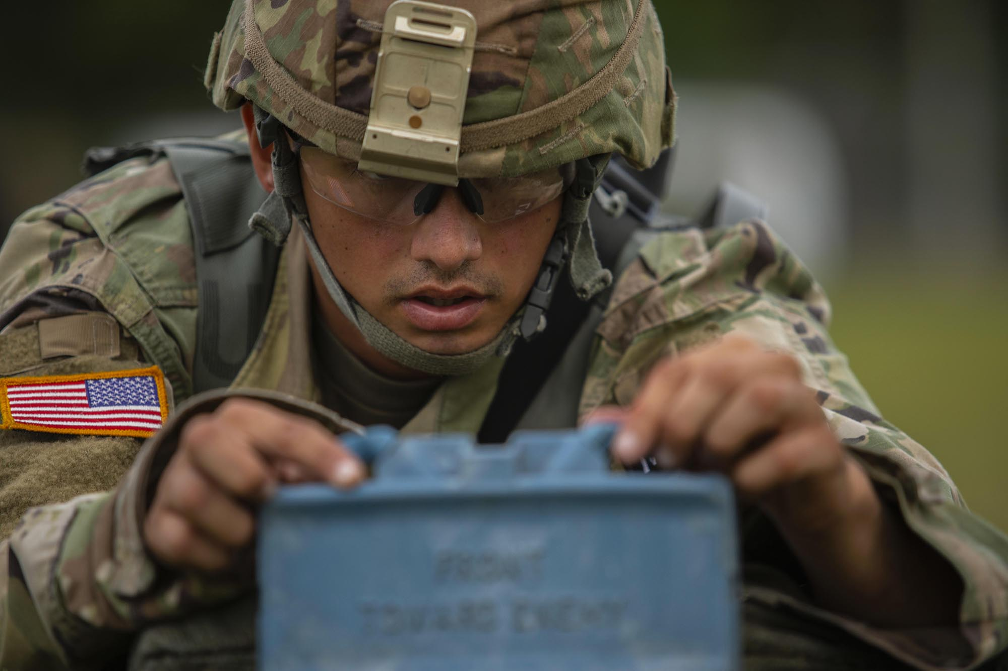 Sgt. Jose Galva Diaz sets up a training M18 Claymore Mine on a multi-event simulation lane during the 2020 U.S. Army Reserve Best Warrior Competition at Fort McCoy, Wis., Sept. 6, 2020. (Spc. Olivia Cowart/Army Reserve)