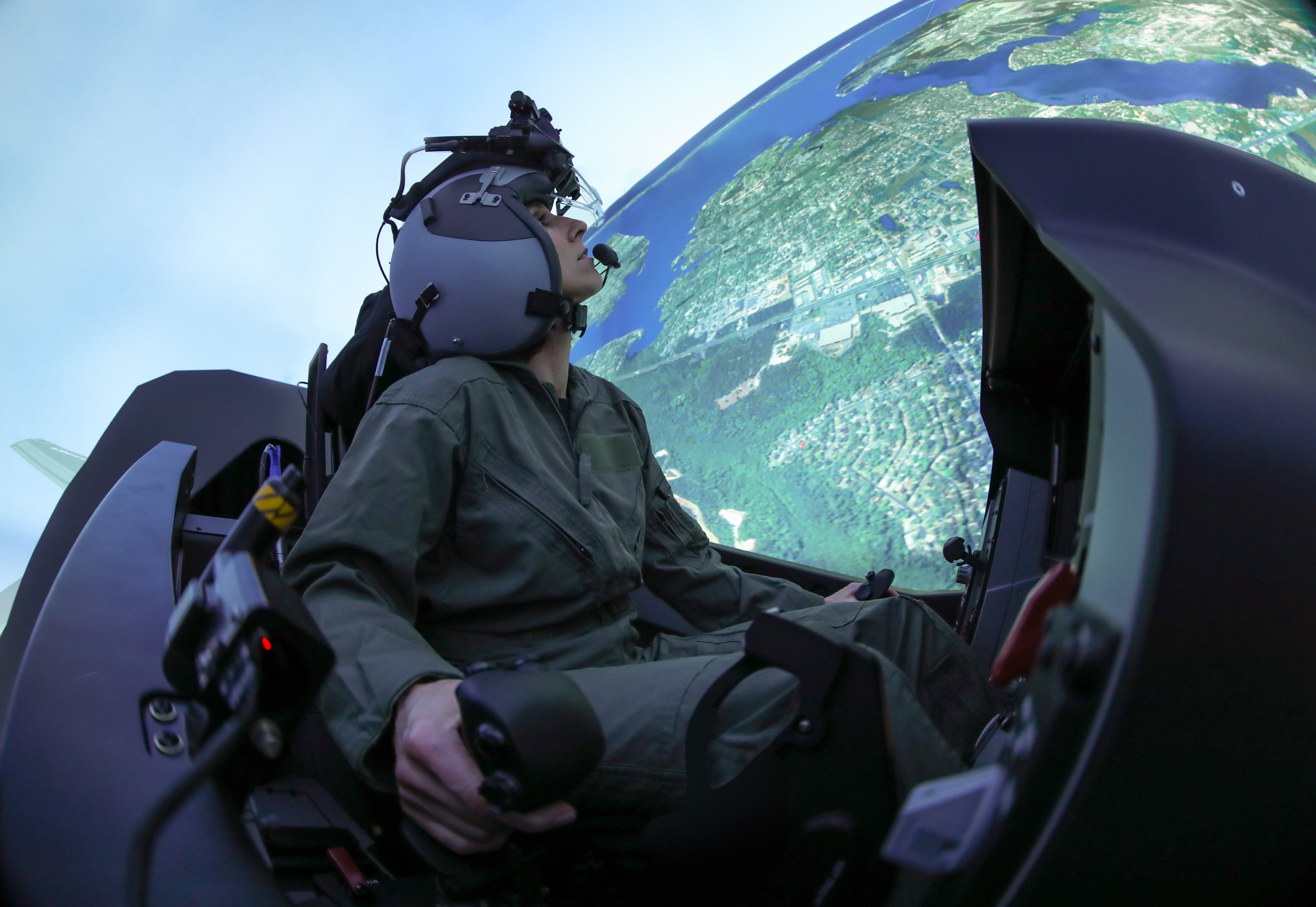 An F-35 pilot trains in a simulator. (Lockheed Martin)