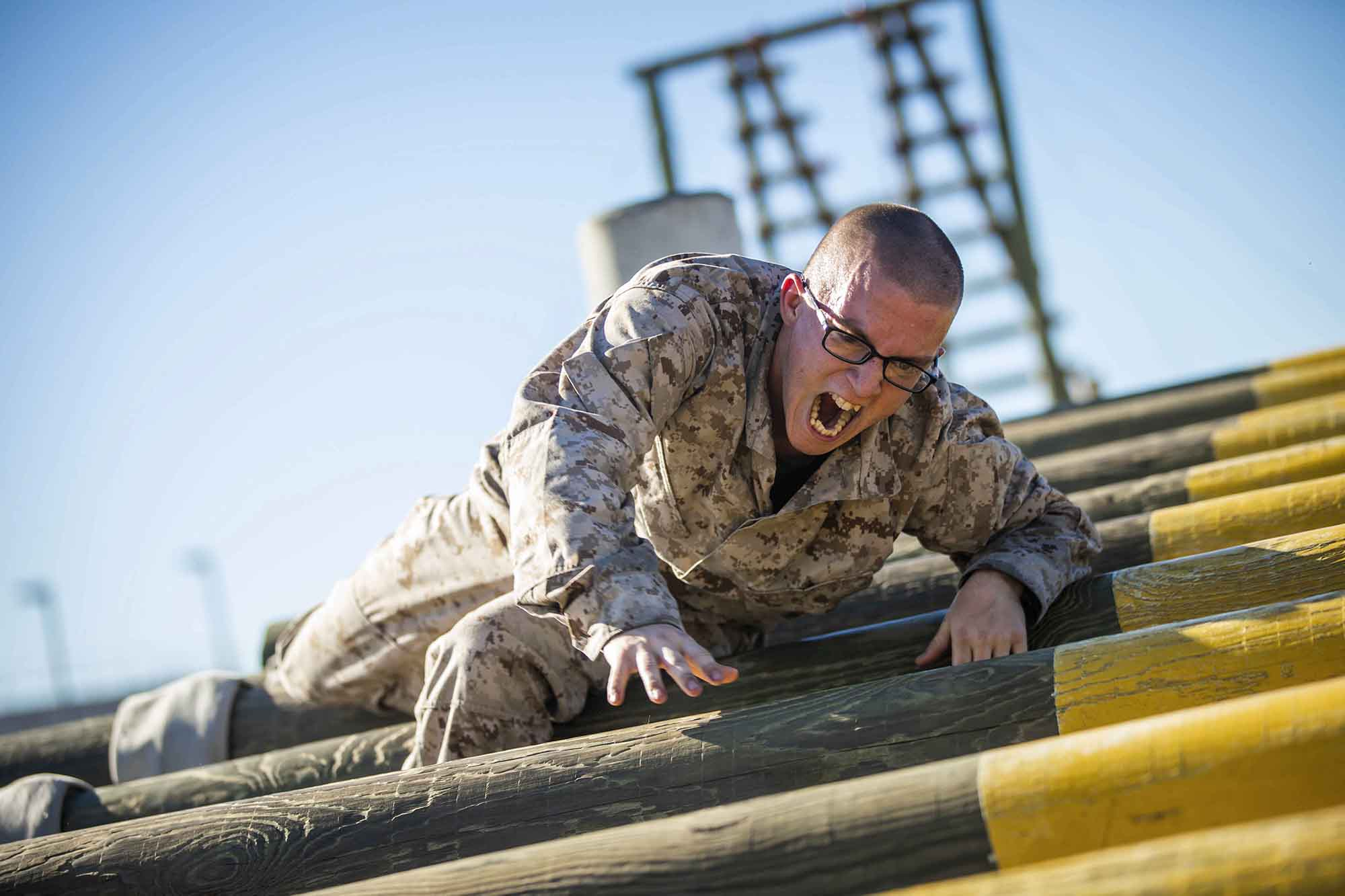Taryn Bunton, a recruit with Lima Company, 3rd Recruit Training Battalion, participates in the confidence course at Marine Corps Recruit Depot, San Diego, Nov. 16, 2020. (Lance Cpl. Zachary T. Beatty/Marine Corps)