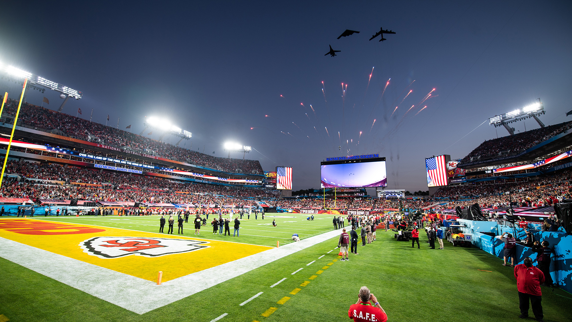 Air Force Global Strike Command bombers perform the Super Bowl LV flyover at Raymond James Stadium in Tampa, Fla., Jan. 7, 2021. The trifecta was the first of its kind as it included a B-1B Lancer from Ellsworth Air Force Base, S.D., a B-2 Spirit from Whiteman AFB, Mo., and a B-52H Stratofortress from Minot AFB, N.D. (Airman 1st Class Jacob B. Wrightsman/Air Force)