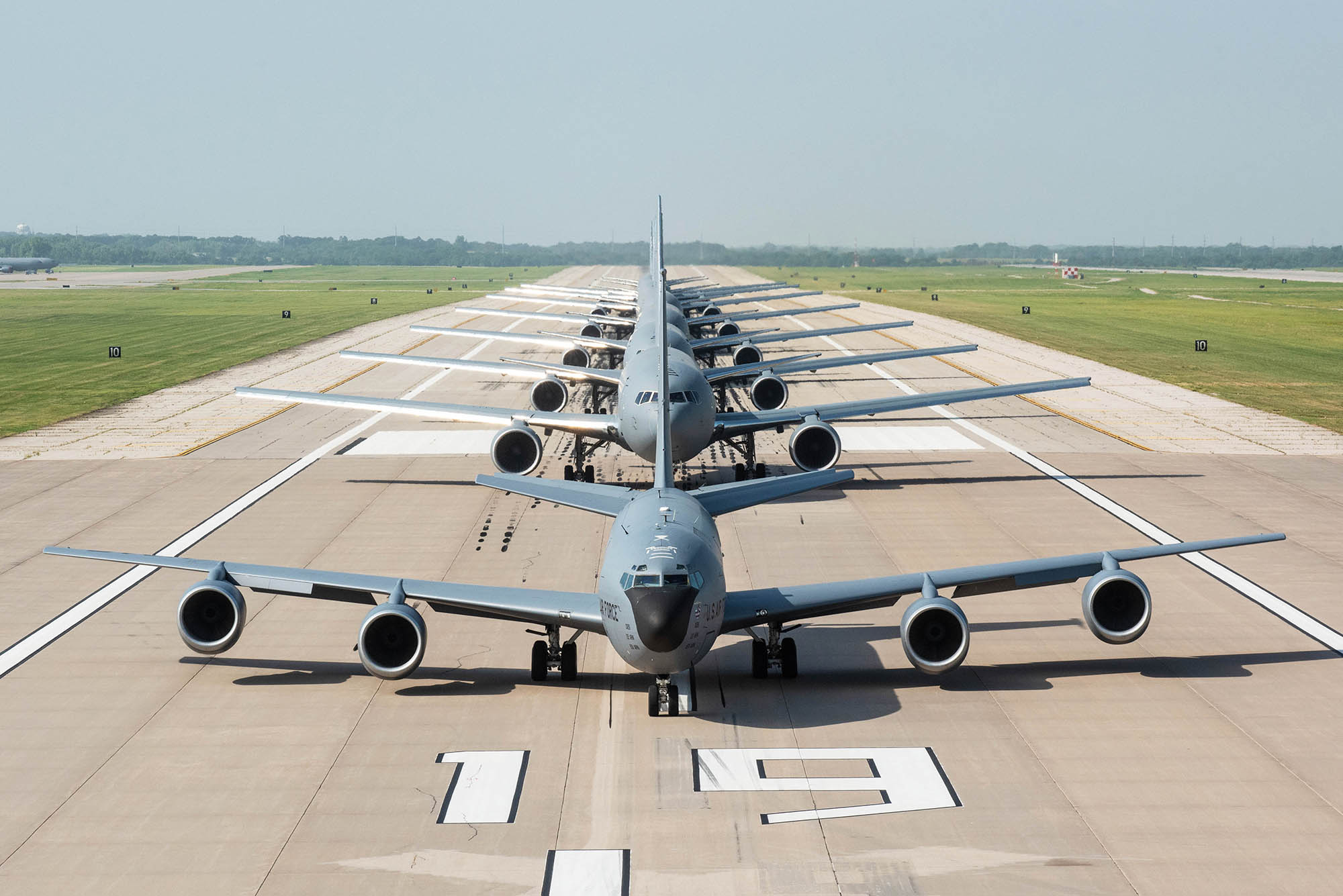 One KC-135 Stratotanker and seven KC-46A Pegasus perform an elephant walk July 1, 2020, at McConnell Air Force Base, Kan. (Staff Sgt. Chris Thornbury/Air Force)