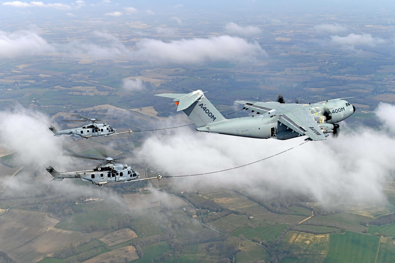 France has recently completed a series of test flights to move forward with certification of the A400M's capability to refuel helicopters during flight, day and night. (Airbus photo)