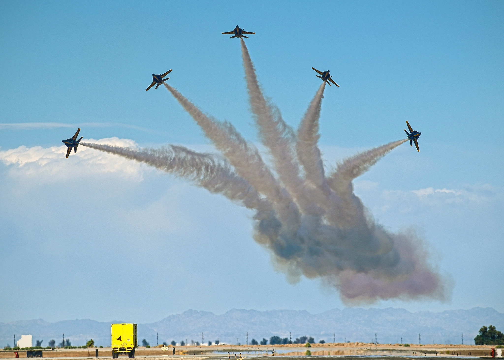 The U.S. Navy Flight Demonstration Squadron, the Blue Angels, complete their winter training at the conclusion of the Festival of Flight, at Naval Air Facility (NAF) El Centro, Calif., March 13, 2021. (MC3 Drew Verbis/Navy)