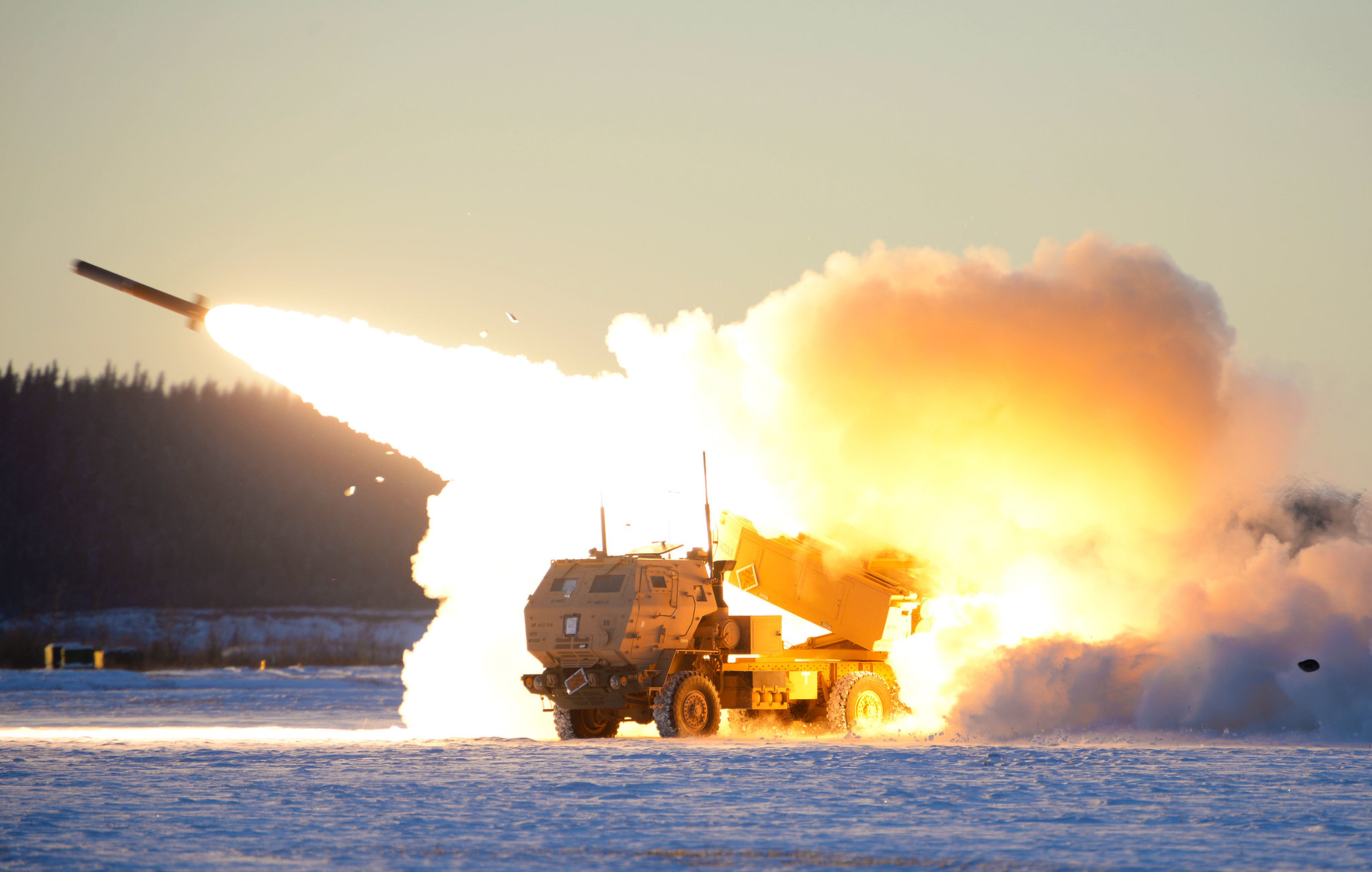 A U.S. Army M142 High Mobility Artillery Rocket Systems (HIMARS) launches ordnance during RED FLAG-Alaska 21-1 at Fort Greely, Alaska, Oct. 22, 2020. (Senior Airman Beaux Hebert/Air Force)