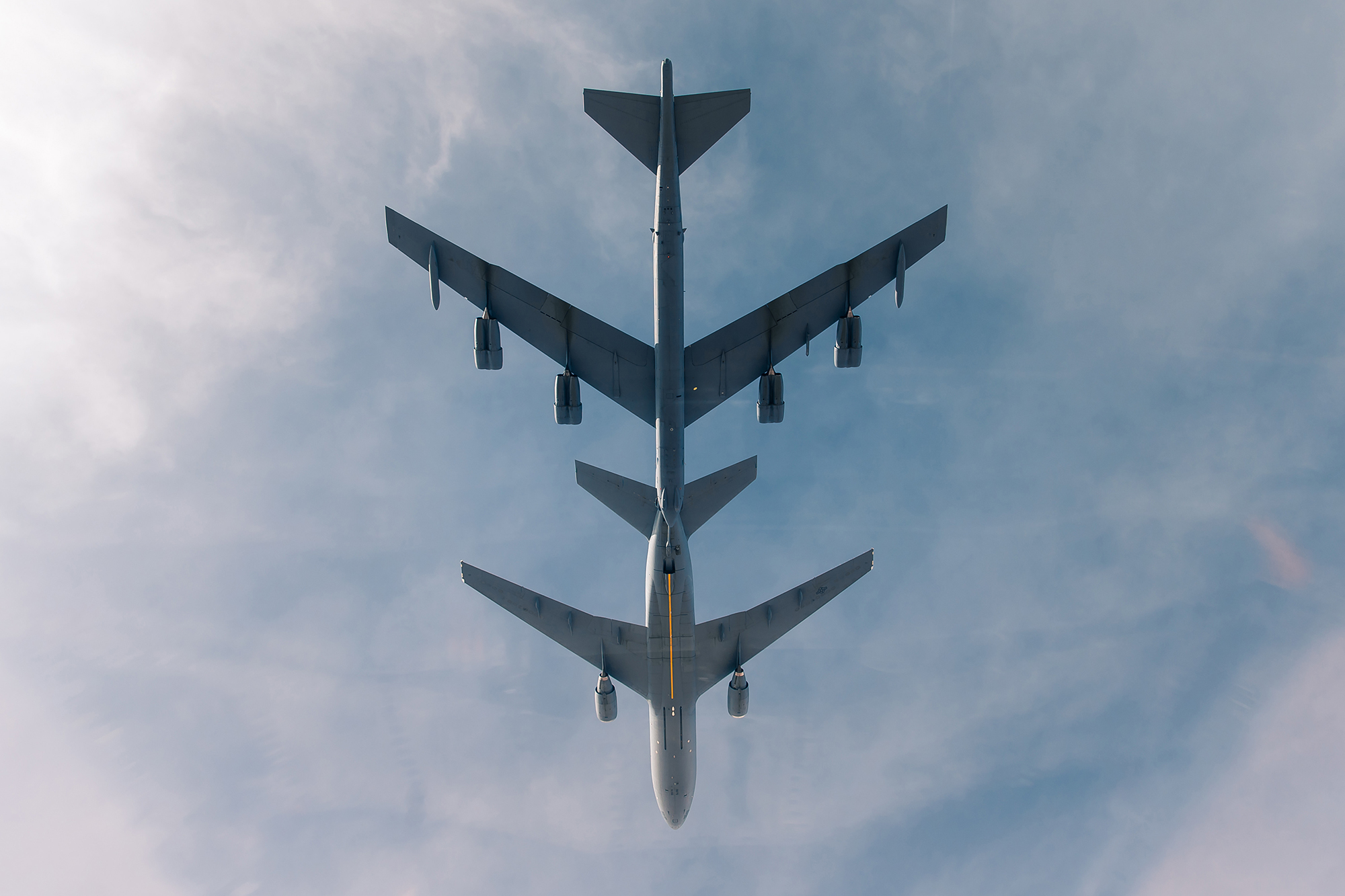 A U.S. Air Force B-52 Stratofortress receives fuel from a KC-10 Extender during a bomber task force mission over the U.S. Central Command area of responsibility Jan. 27, 2021. (Staff Sgt. Trevor T. McBride/Air Force)