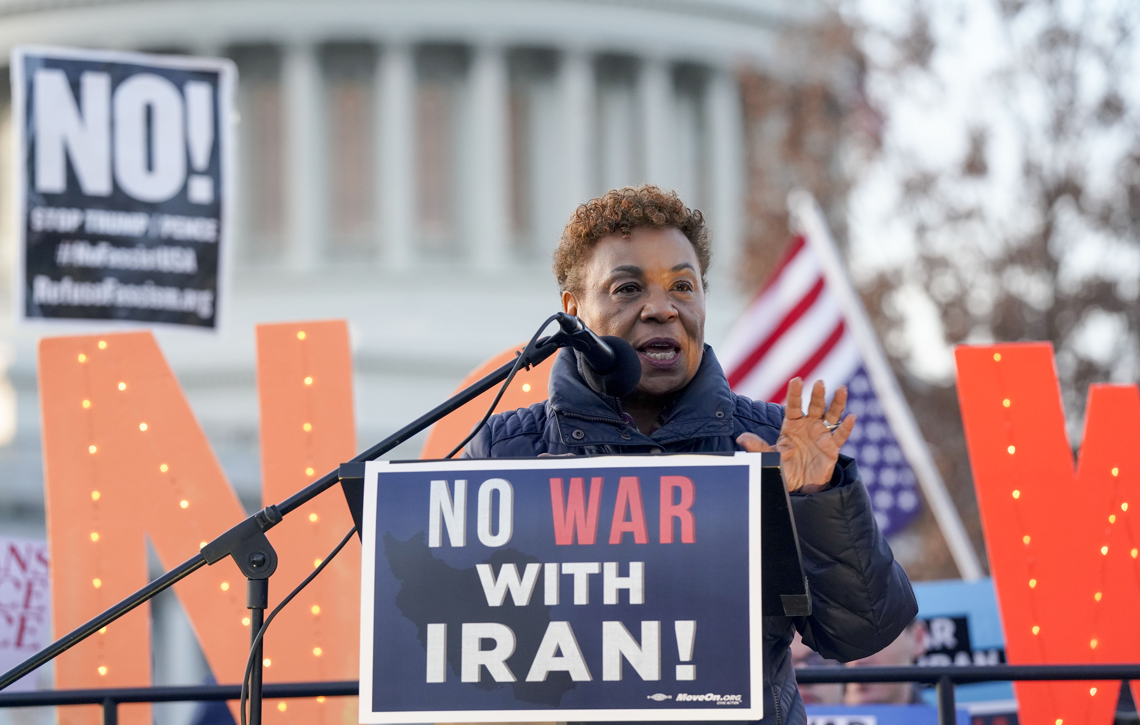 Rep. Barbara Lee, D-Calif., speaks during an antiwar rally at the Capitol on Jan. 9, 2020. (Leigh Vogel/Getty Images for MoveOn.org)