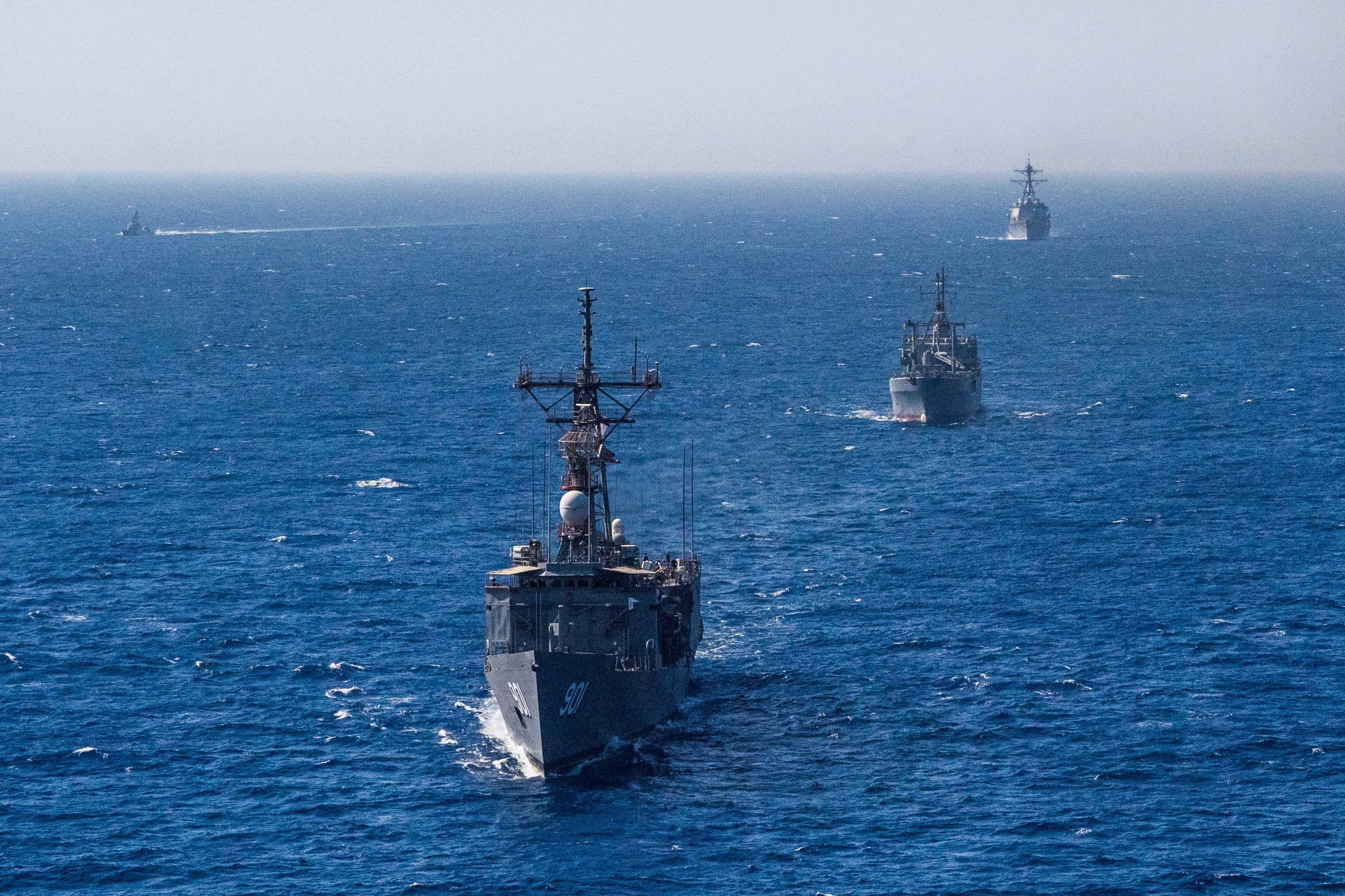 Egyptian, UAE and American warships transit the Red Sea during Eagle Salute 18. (MC3 Jonathan Clay/U.S. Navy)