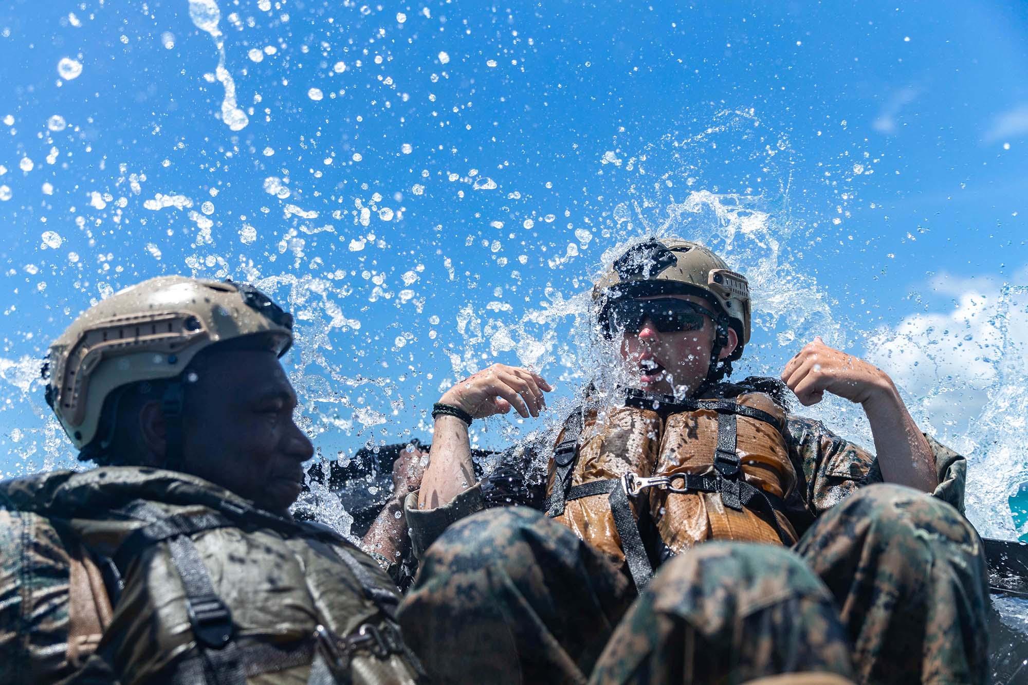 U.S. Marines execute amphibious raid rehearsals in a combat rubber raiding craft at Kin Blue training area, Okinawa, Japan, May 14, 2021. (Lance Cpl. Grace Gerlach/Marine Corps)