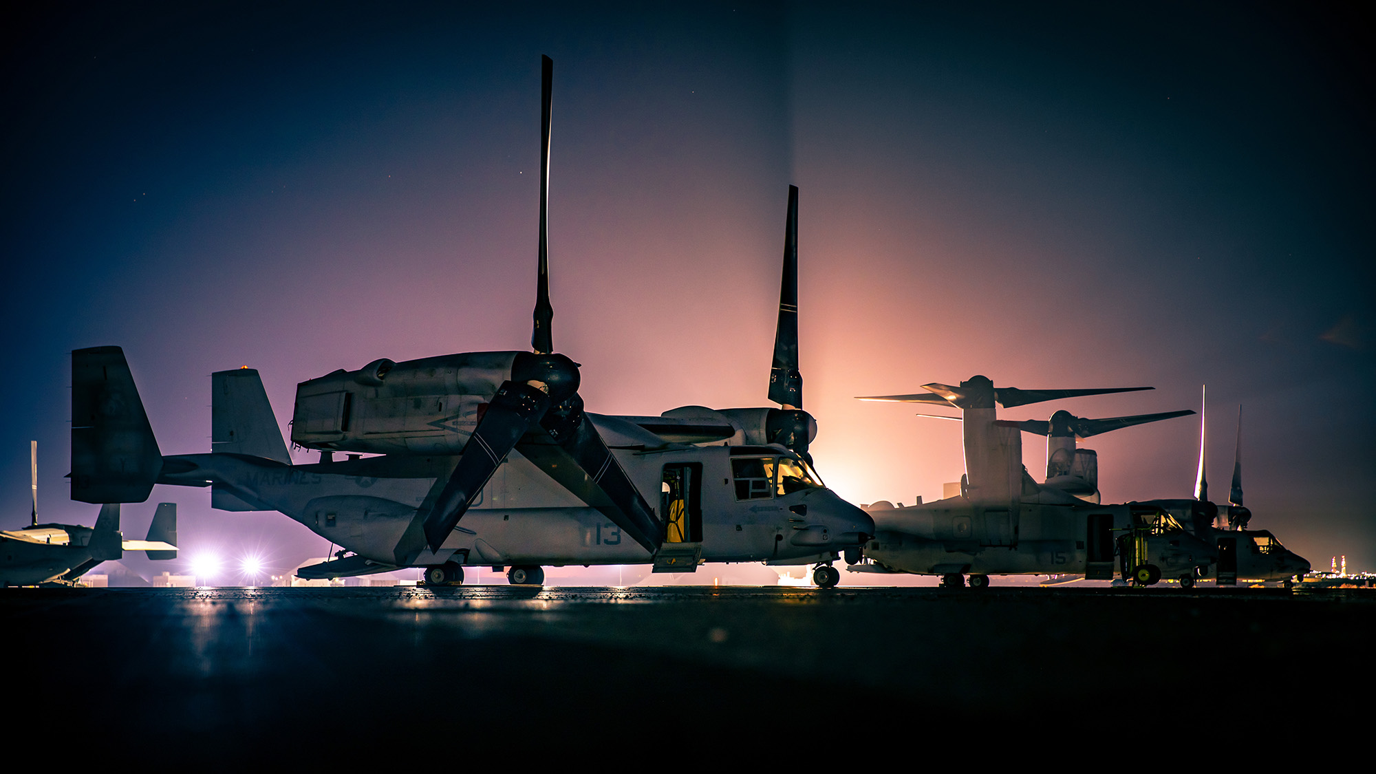 Marine Corps MV-22 Ospreys assigned to Marine Medium Tiltrotor Squadron 166, Special Purpose Marine Air-Ground Task Force Crisis Response - Central Command, are staged on the flight line in Kuwait, Sept 24, 2020. (Lance Cpl. Andrew Skiver/Marine Corps)