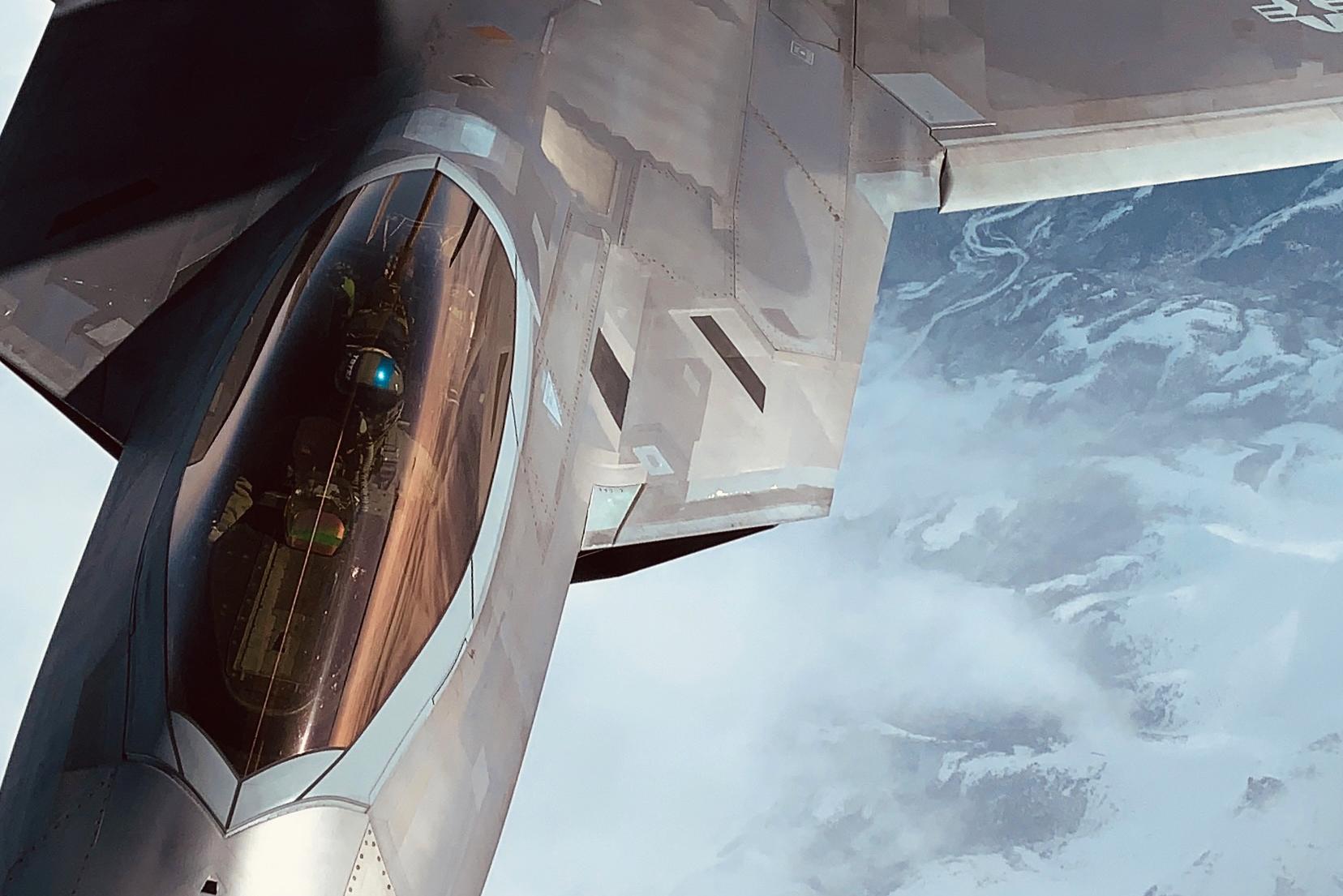 A KC-135 Stratotanker to refuel an F-22 Raptor from Joint Base Elmendorf-Richardson, Alaska, April, 13, 2021. (Master Sgt. Natalie Stanley/Air National Guard)