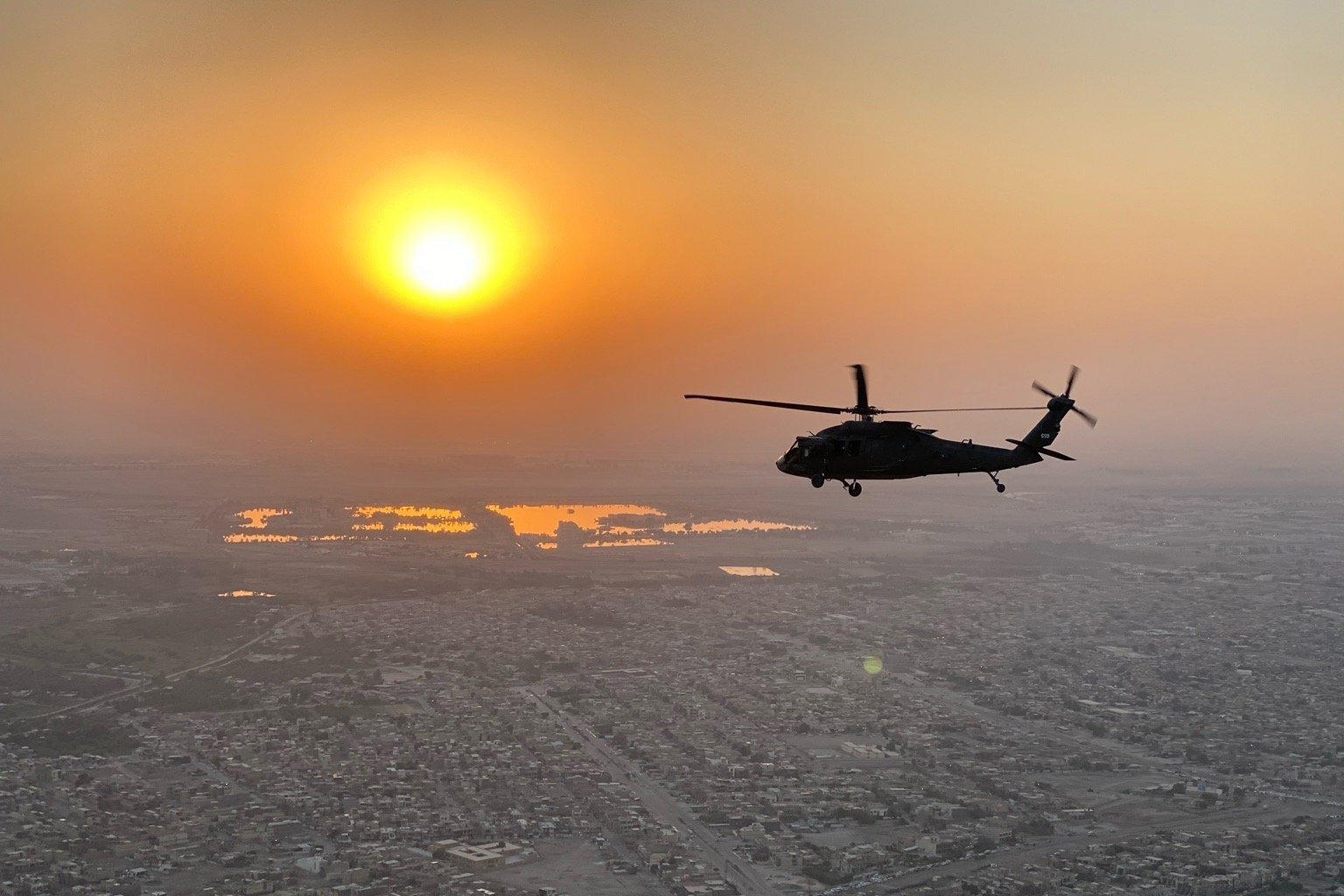 Soldiers operating a UH-60 Black Hawk helicopter conduct aviation operations around the Middle East in support of Operation Inherent Resolve. (Chief Warrant Officer 2 Matthew Bean/Army)