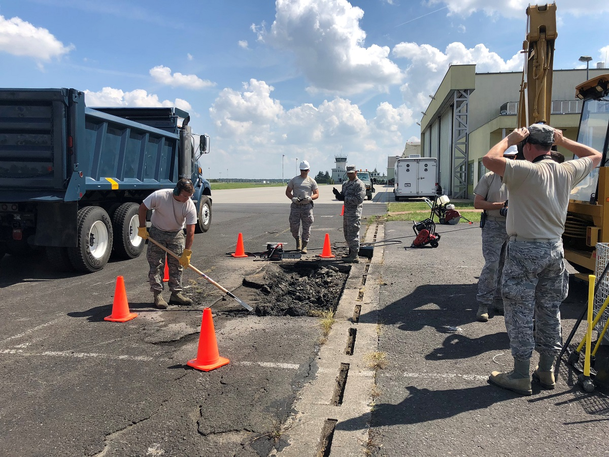 On July 31, several U.S. Air Force civil engineers were tapped to perform airfield work for the Polish armed forces. The troops participating in the DABS exercise used a kit of materiel needed for rapid airfield repairs, such as concrete and asphalt, a variety of saws, and other tools. (Valerie Insinna/Staff)