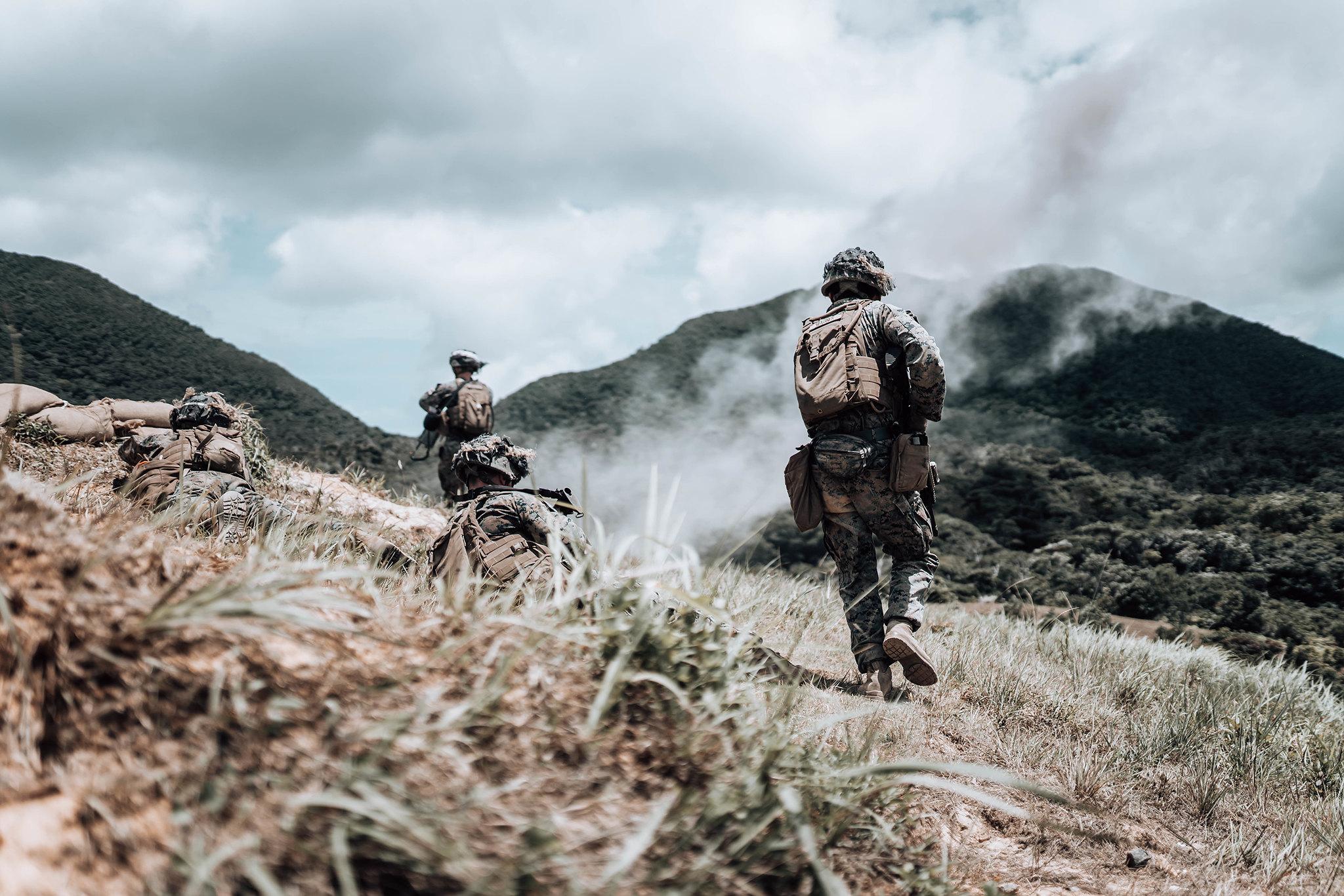 Marines conduct live-fire maneuver drills on June 18, 2020, on Camp Schwab, Okinawa, Japan. (Cpl. Josue Marquez/Marine Corps)