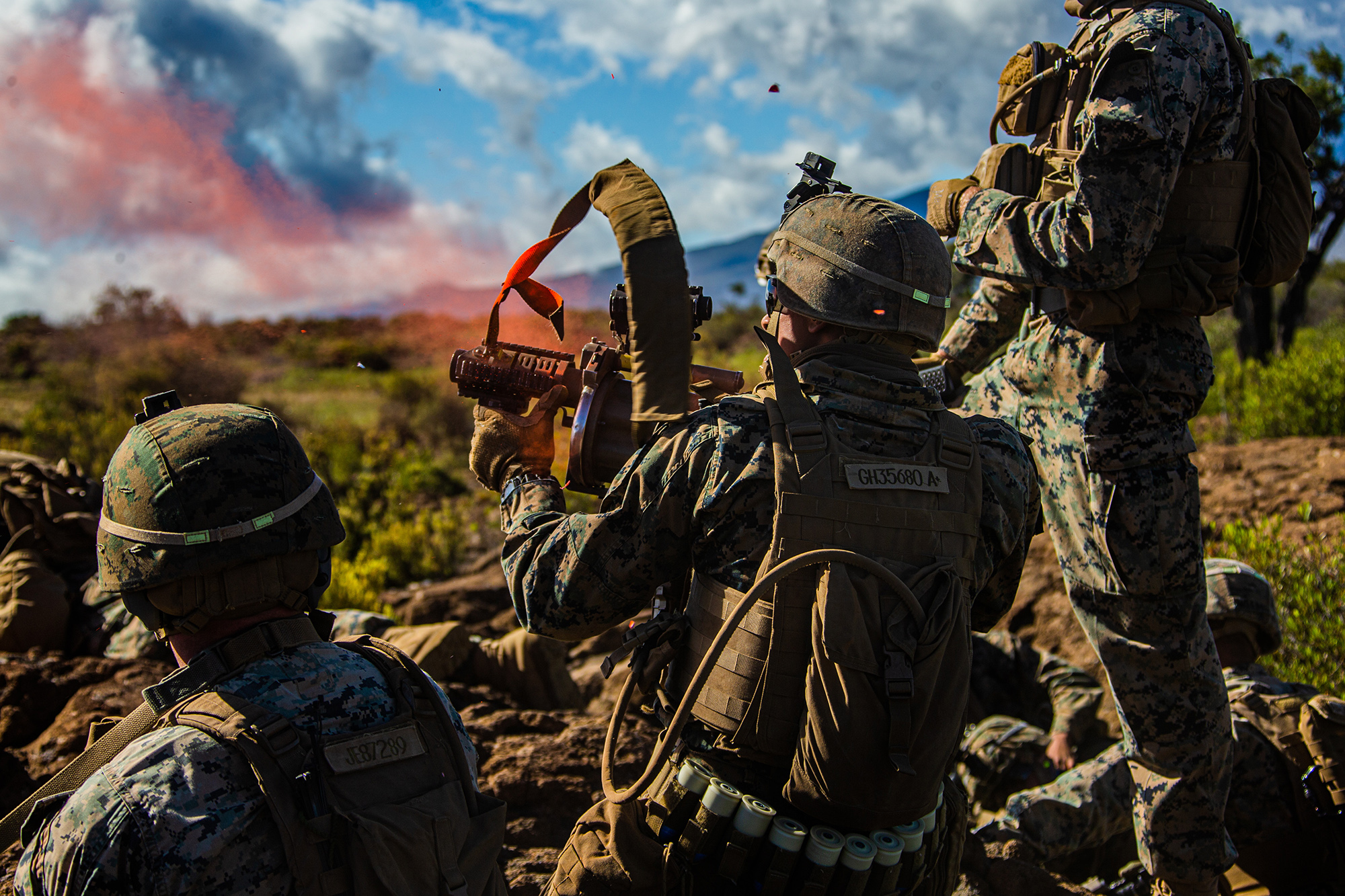 A Marine fires a 203 grenade launcher during exercise Bougainville II at Pohakuloa Training Area, Hawaii, July 19, 2020. (Cpl. Jacob Wilson/Marine Corps)