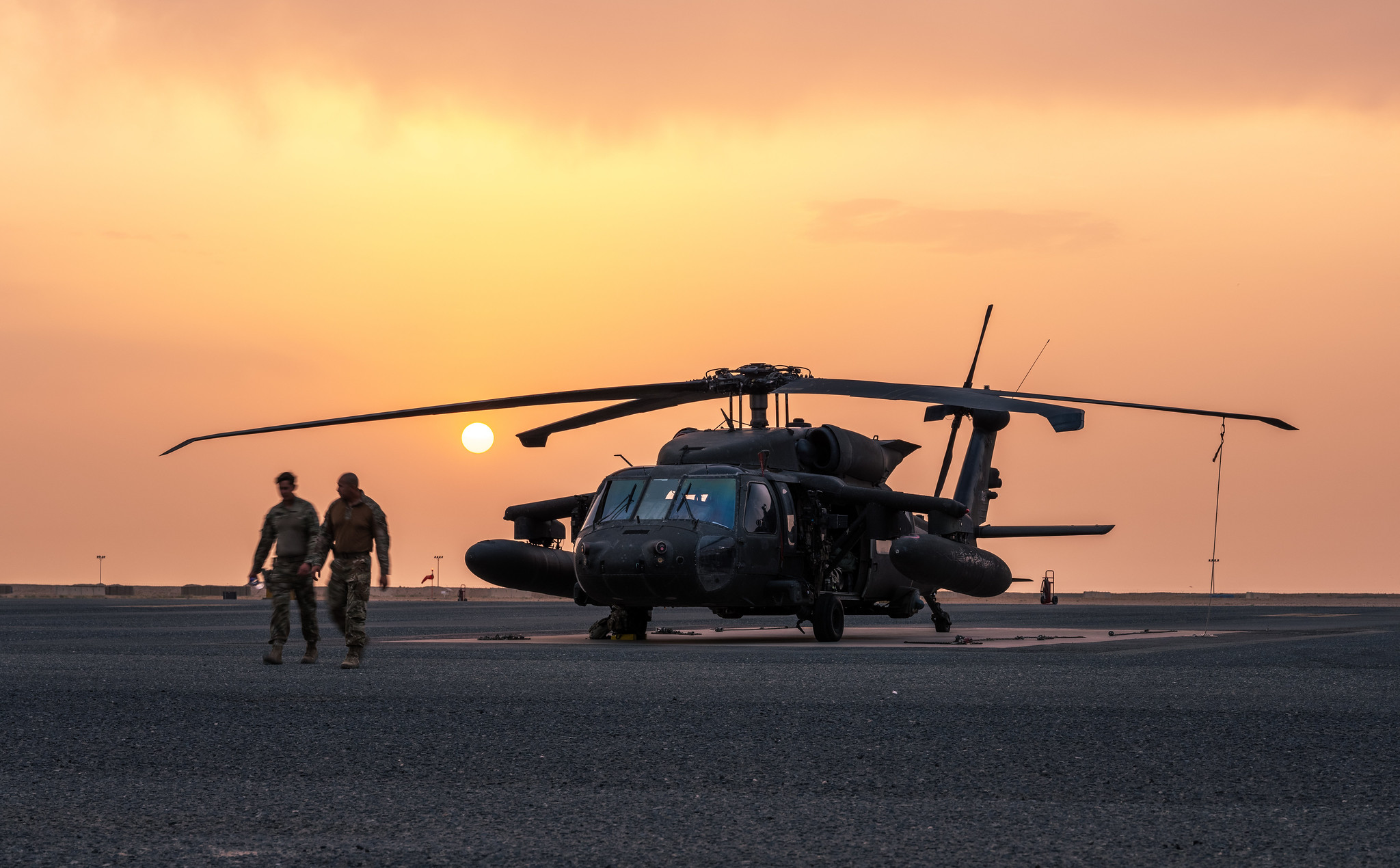 A Task Force Phoenix UH-60 Black Hawk helicopter, from the 40th Combat Aviation Brigade, is prepped for a mission in support of Operation Inherent Resolve in the Middle East, May 22, 2021. (2nd Lt. Kyle Gallagher/Army National Guard)