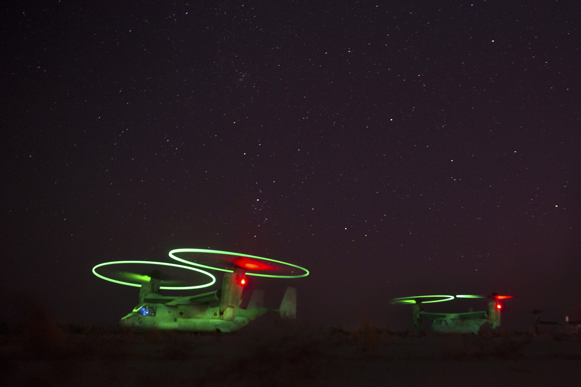 Marine Corps MV-22B Ospreys refuel Oct. 5, 2020, during static forward arming and refueling point training at Holtville Airfield in Holtville, Calif., Oct. 5, 2020. (Cpl. Sarah Taggett/Marine Corps)