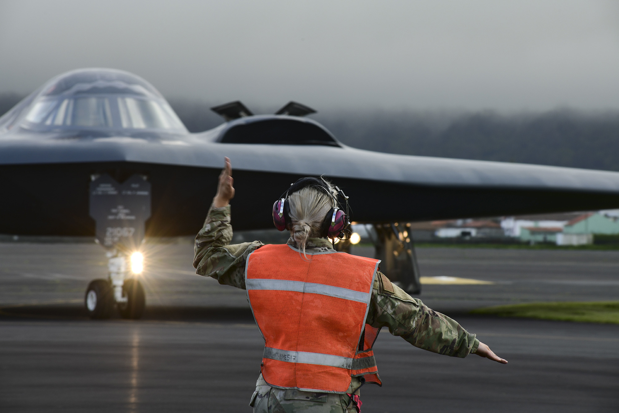 Three B-2 Spirit stealth bombers depart Lajes Field, Azores, March 16, 2021. The B-2s refueled at Lajes prior to supporting bomber task force missions in the Arctic region. (Tech. Sgt. Heather Salazar/Air Force)