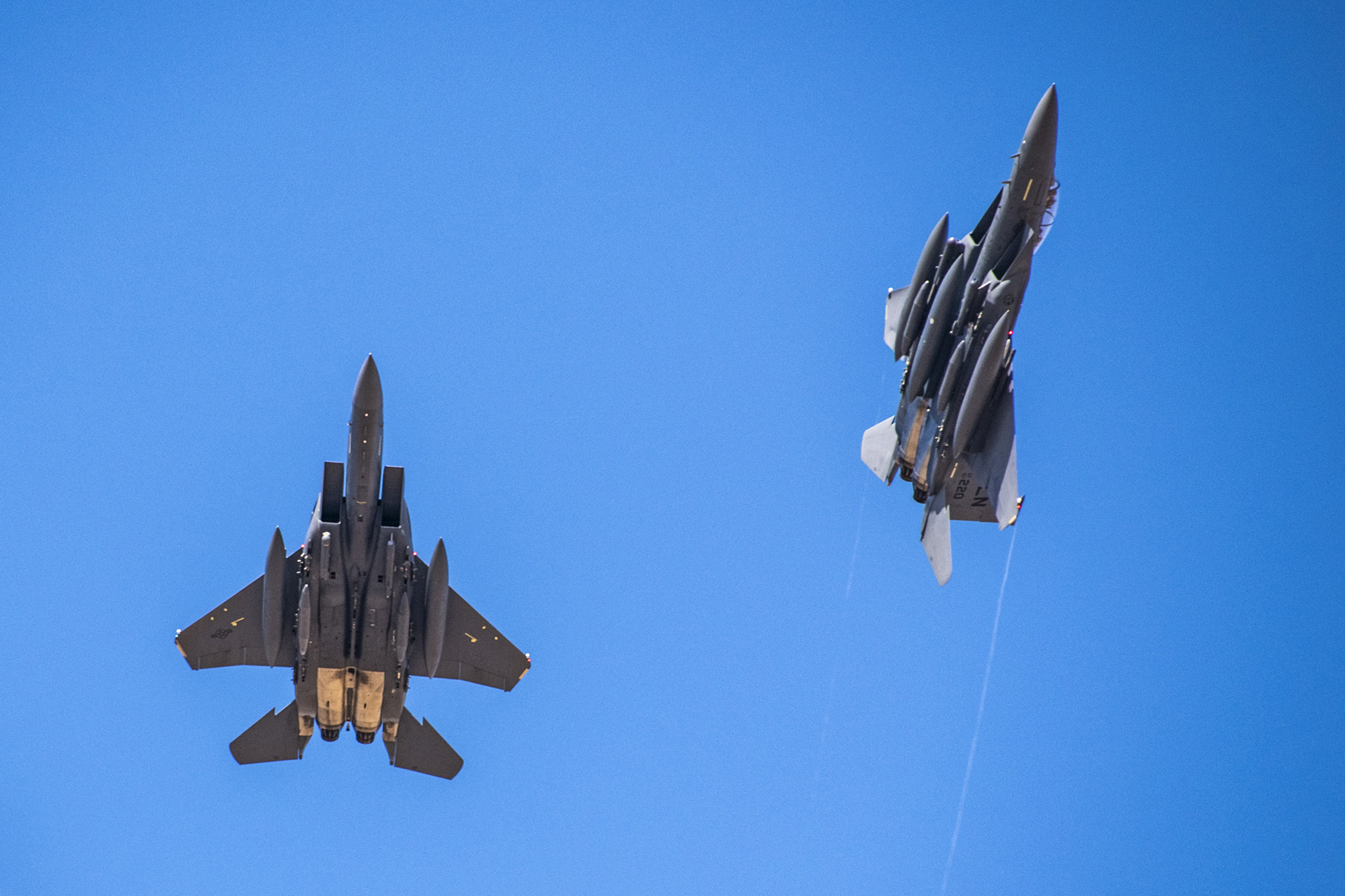 F-15E Strike Eagles from the 492nd Fighter Squadron arrive at an undisclosed location in Southwest Asia, May 5, 2020. (Staff Sgt. Alexandria Brun/Air Force)