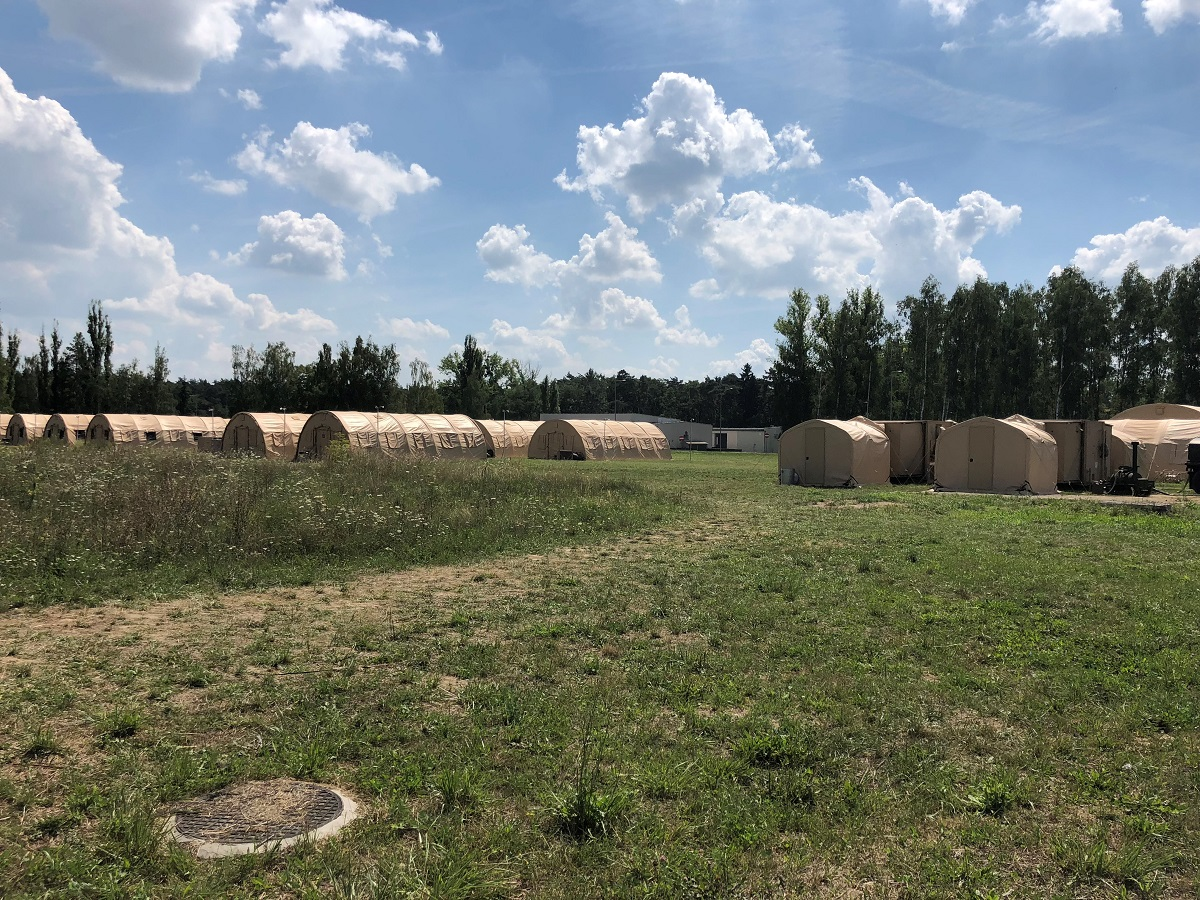 About 60 airmen from 14 different active, Reserve and Air National Guard units set up this tent city at Poland's 31st Air Base during a July exercise meant to test a smaller, prototype version of the U.S. Air Force's deployable air base system, or DABS, construct. This camp is about one-fifth the scale of an actual DABS, exercise organizers say. (Valerie Insinna/Staff)