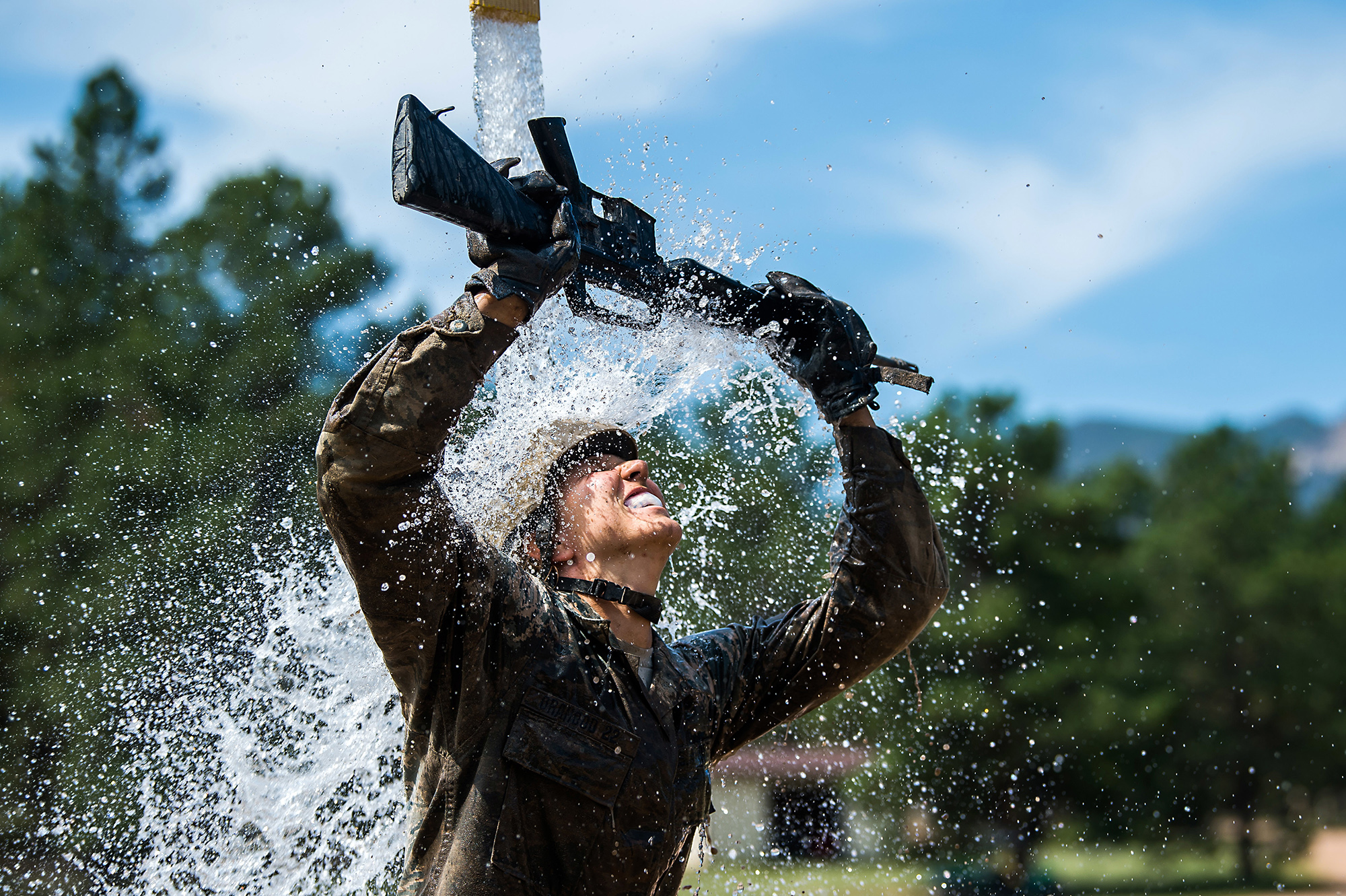 U.S. Air Force Academy Class of 2024 basic cadets complete the assault course at the U.S. Air Force Academy in Colorado Springs, Colo., July 14, 2020. (Trevor Cokley/Air Force)