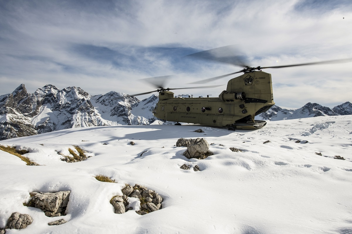A CH-47F Chinook perches on a mountain in the Alps in Germany, Oct. 21, 2020. (Staff Sgt. Garrett L. Dipuma/Army National Guard)