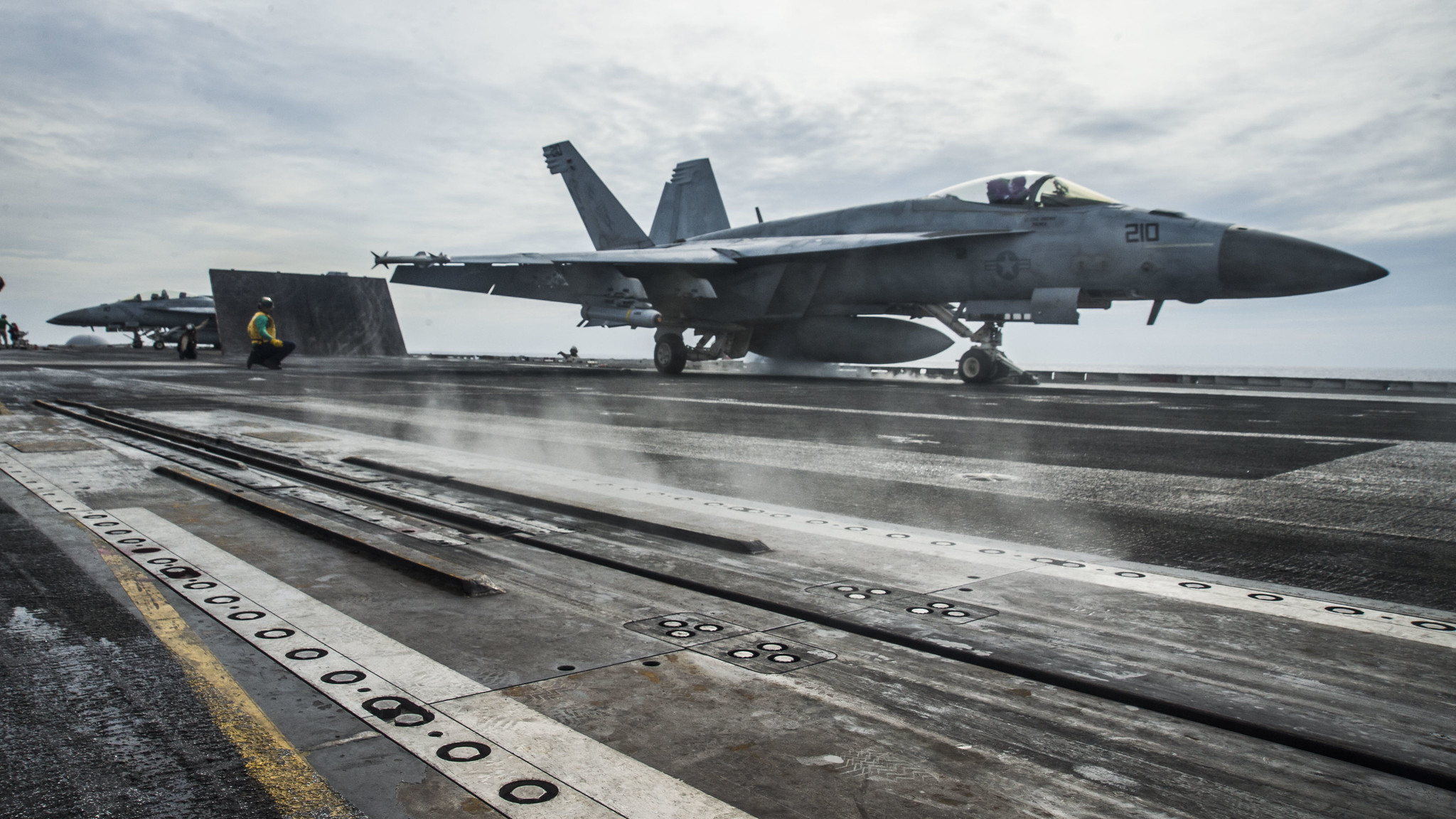 An F/A-18E launches off the flight deck of the aircraft carrier USS Ronald Reagan (CVN 76) on Oct. 15, 2020, while conducting security and stability operations in the South China Sea. (MC2 Codie L. Soule/Navy)