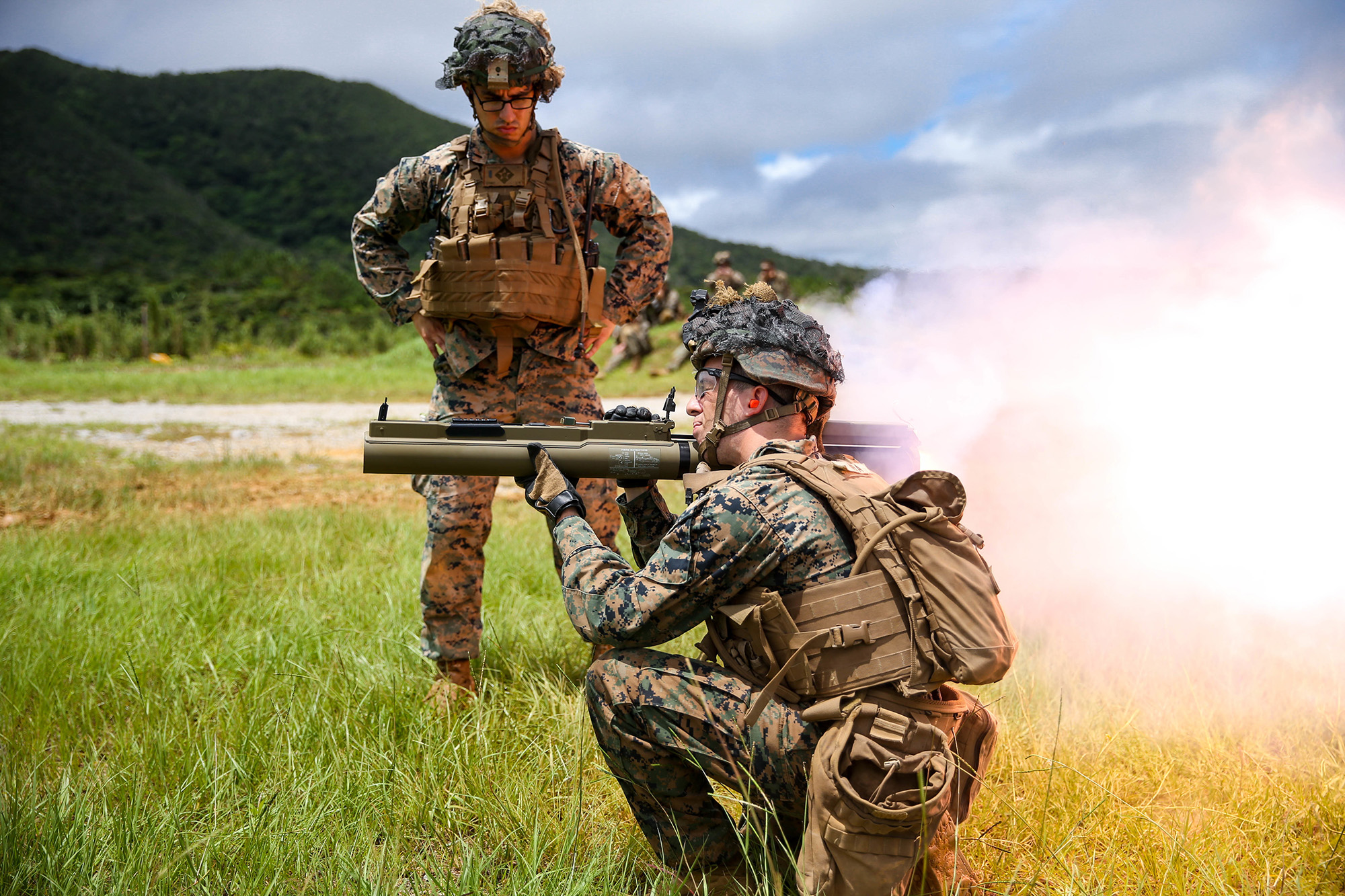 U.S. Marines fire at targets during a high-explosive weapons range on Camp Schwab, Okinawa, Japan, June 27, 2020. (Cpl. Donovan Massieperez/Marine Corps)
