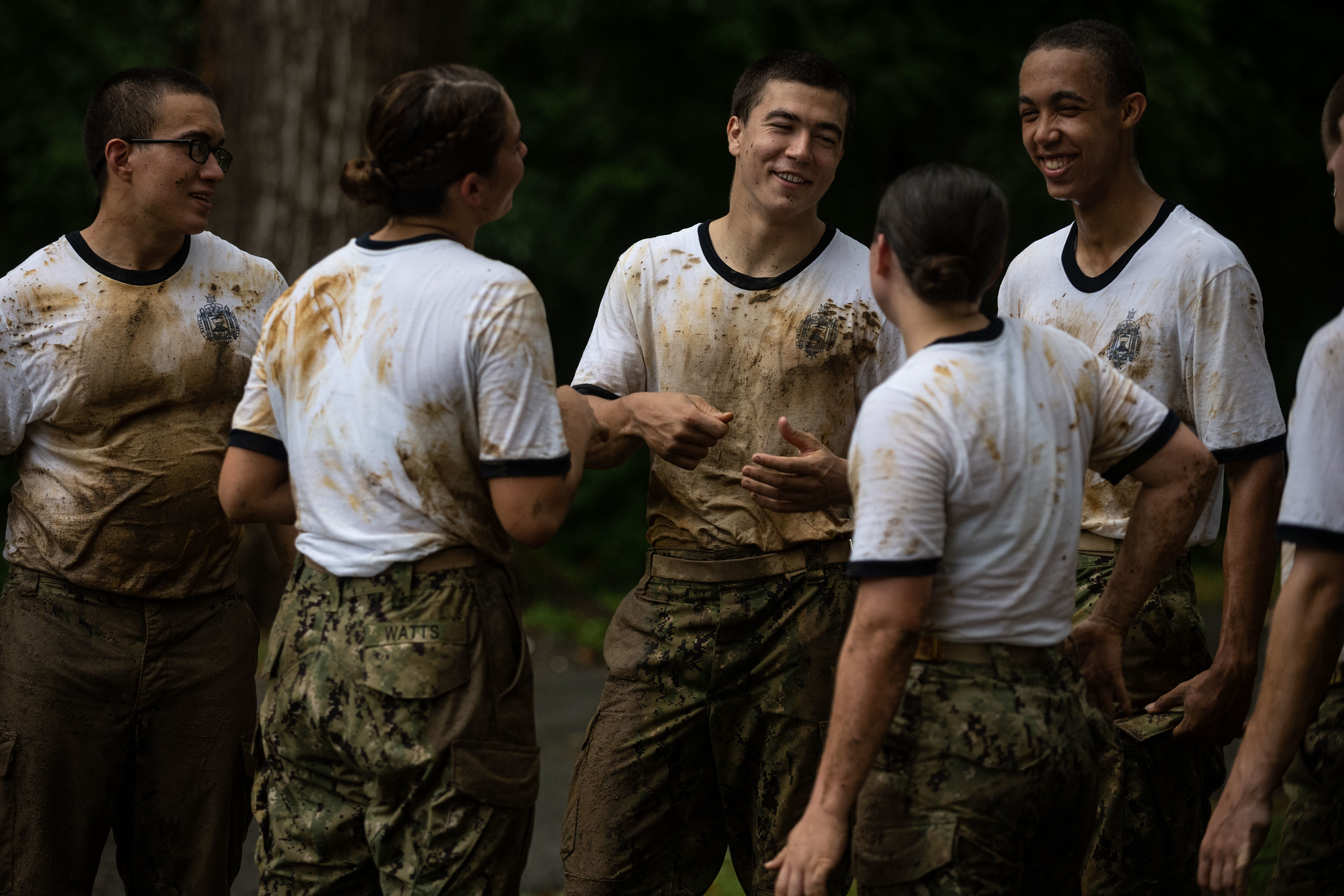 Midshipmen 4th Class, or plebes, from the Naval Academy Class of 2024 complete the endurance course on July 31, 2020, at Annapolis, Md., during Plebe Summer, a demanding indoctrination period intended to transition the candidates from civilian to military life. (MC2 Nathan Burke/Navy)