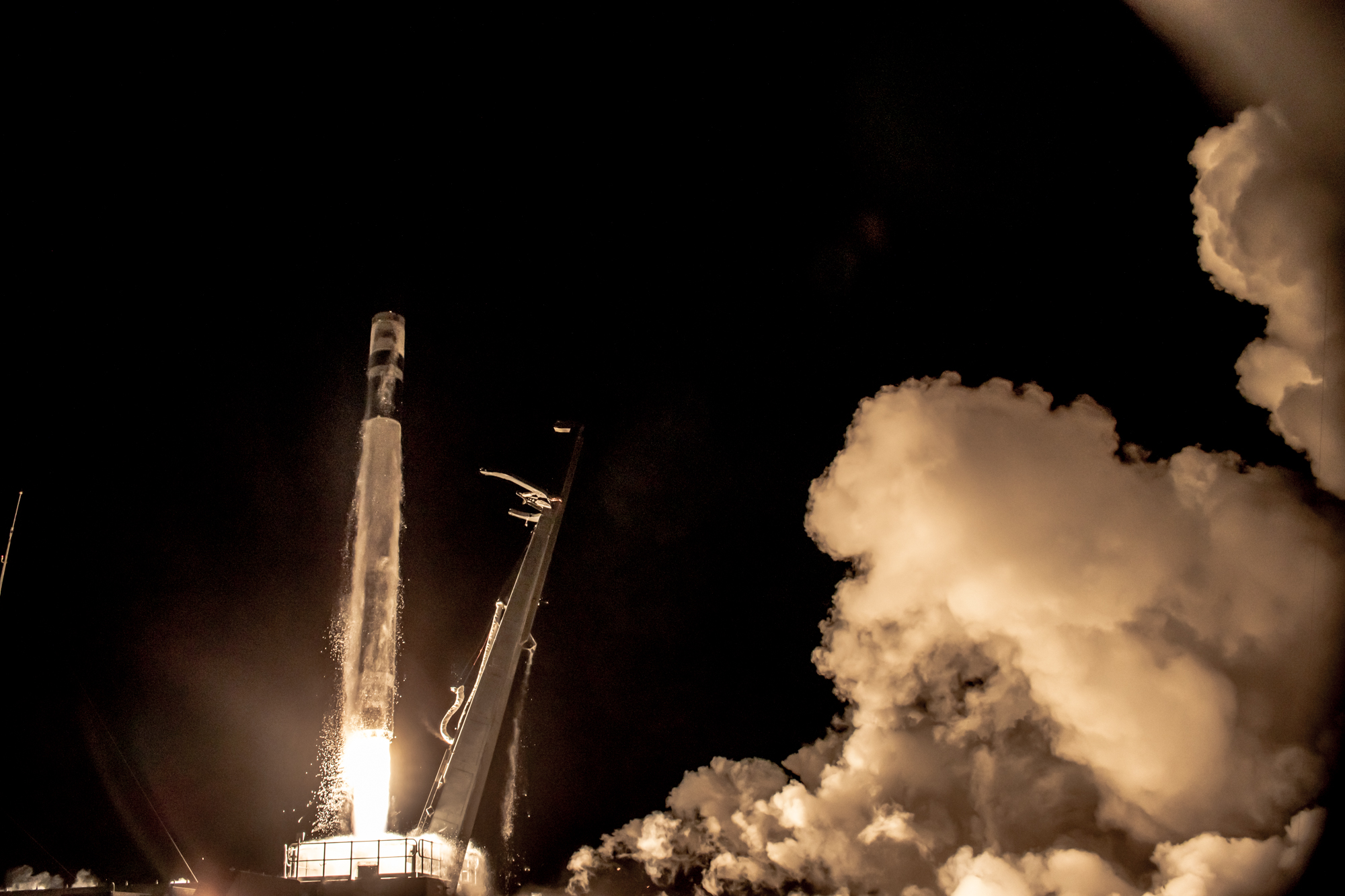 A Rocket Lab Electron rocket launches from the company's New Zealand facility, carrying an experimental Air Force Research Laboratory satellite into low Earth orbit on July 29, 2021. (Rocket Lab)