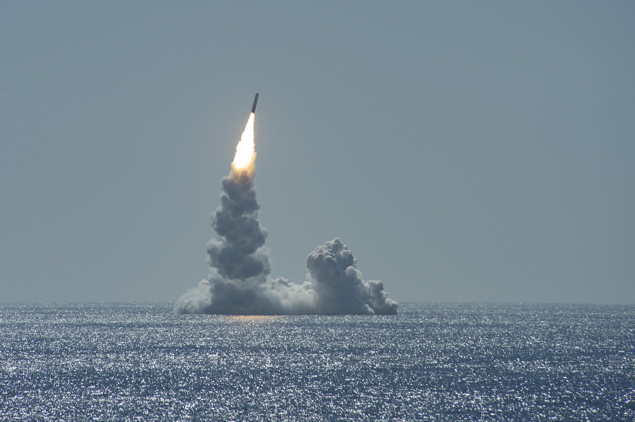 An unarmed Trident II missile launches from Ohio-class ballistic missile submarine Maine off the coast of San Diego, Calif., on Feb. 12, 2020. (MC2 Thomas Gooley/U.S. Navy)