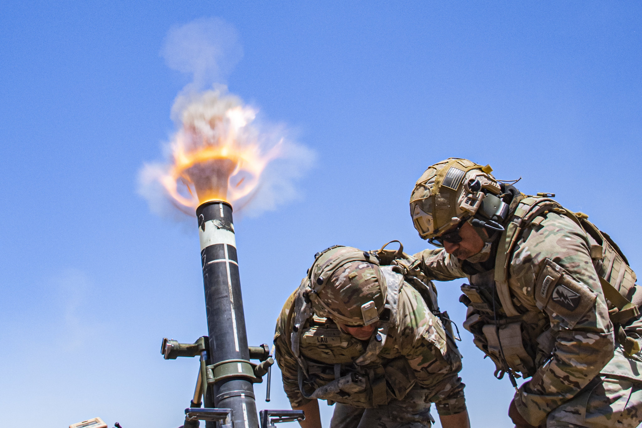 Col. Randy Lau, brigade commander of the 79th Infantry Brigade Combat Team, California National Guard, fires a 120mm mortar during a live-fire exercise at Camp Roberts, Calif. (Staff Sgt. Walter H. Lowell/Army)