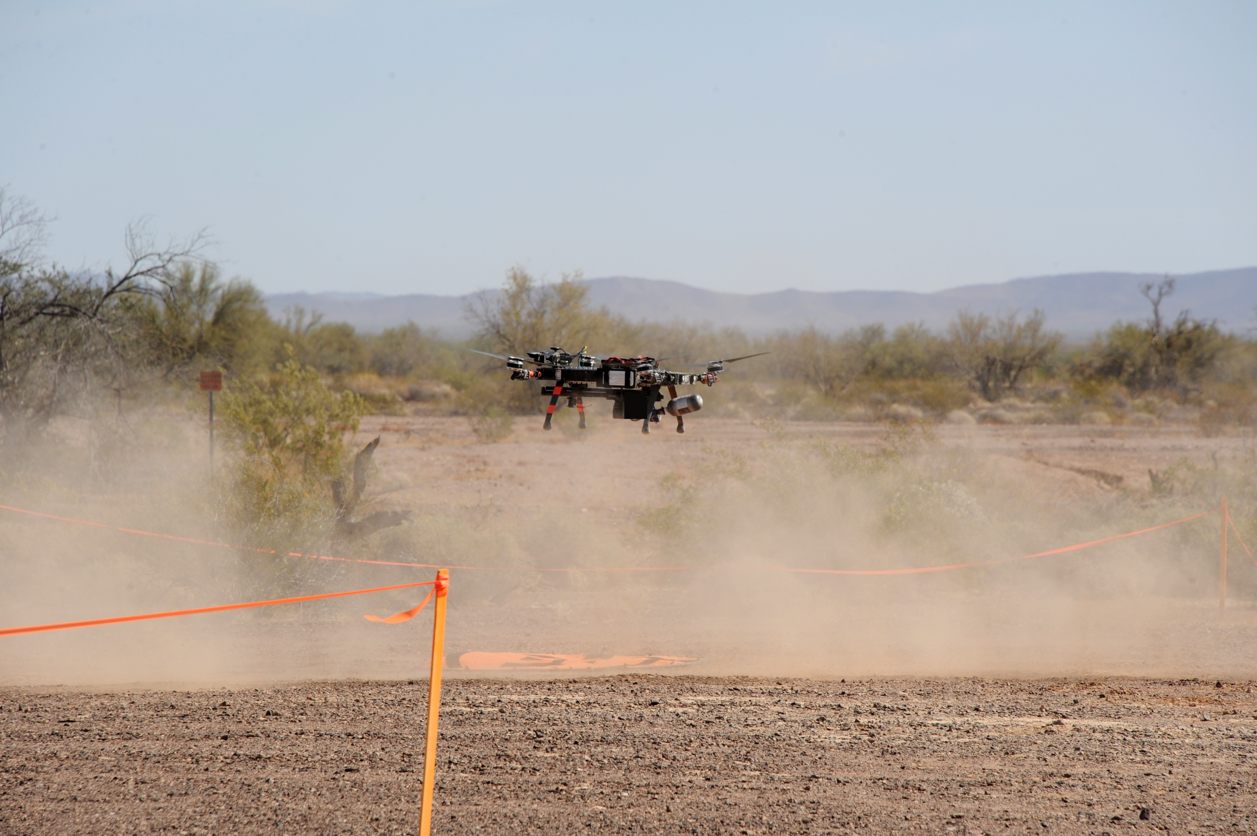 The Joint Counter-Small Unmanned Aircraft Systems Office and the U.S. Air Force evaluated three new systems capable of defeating small drone threats in the Arizona desert. (Courtesy of Yuma Proving Ground)